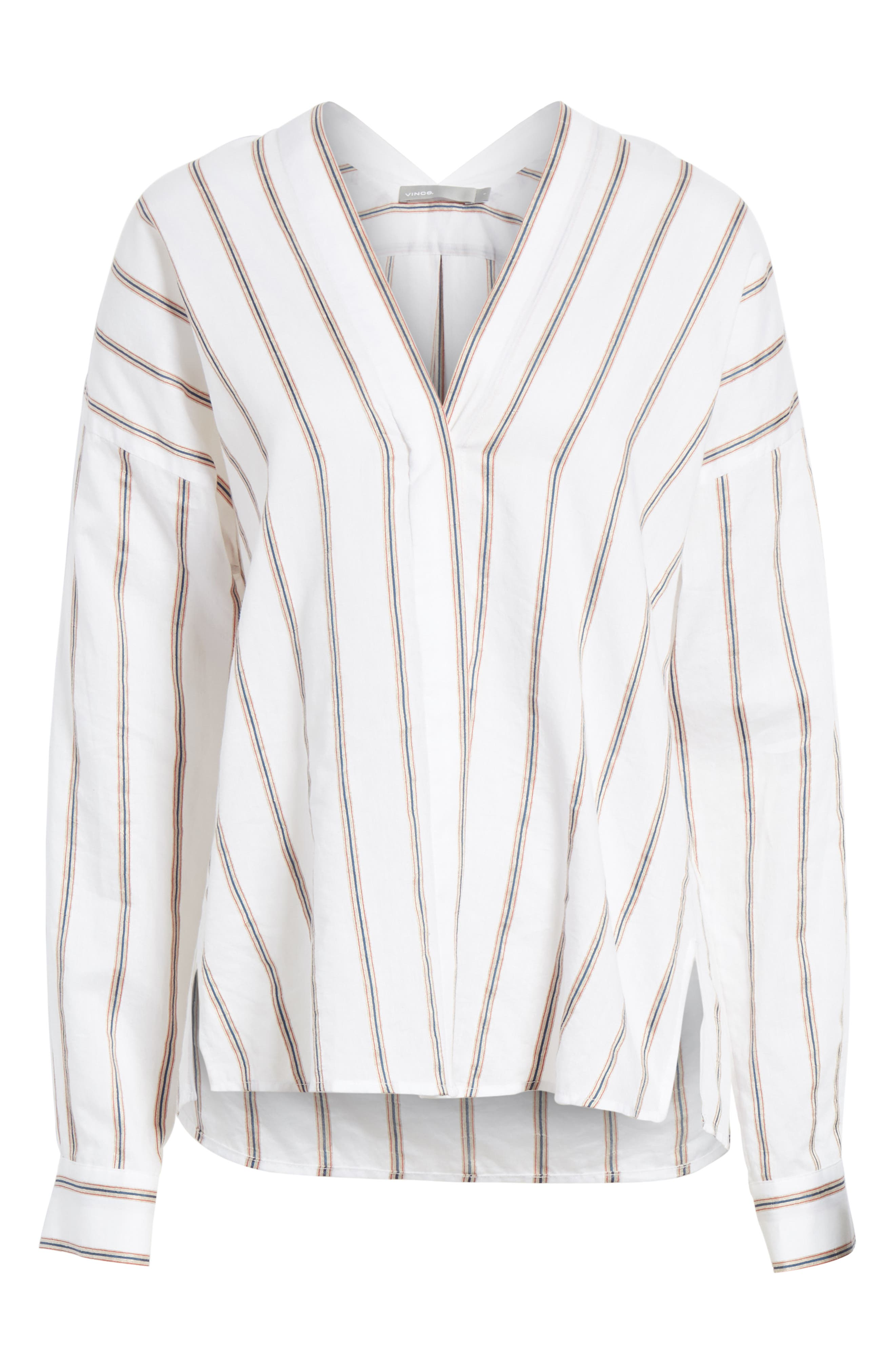 VINCE,                             Textured Stripe Blouse,                             Alternate thumbnail 6, color,                             137