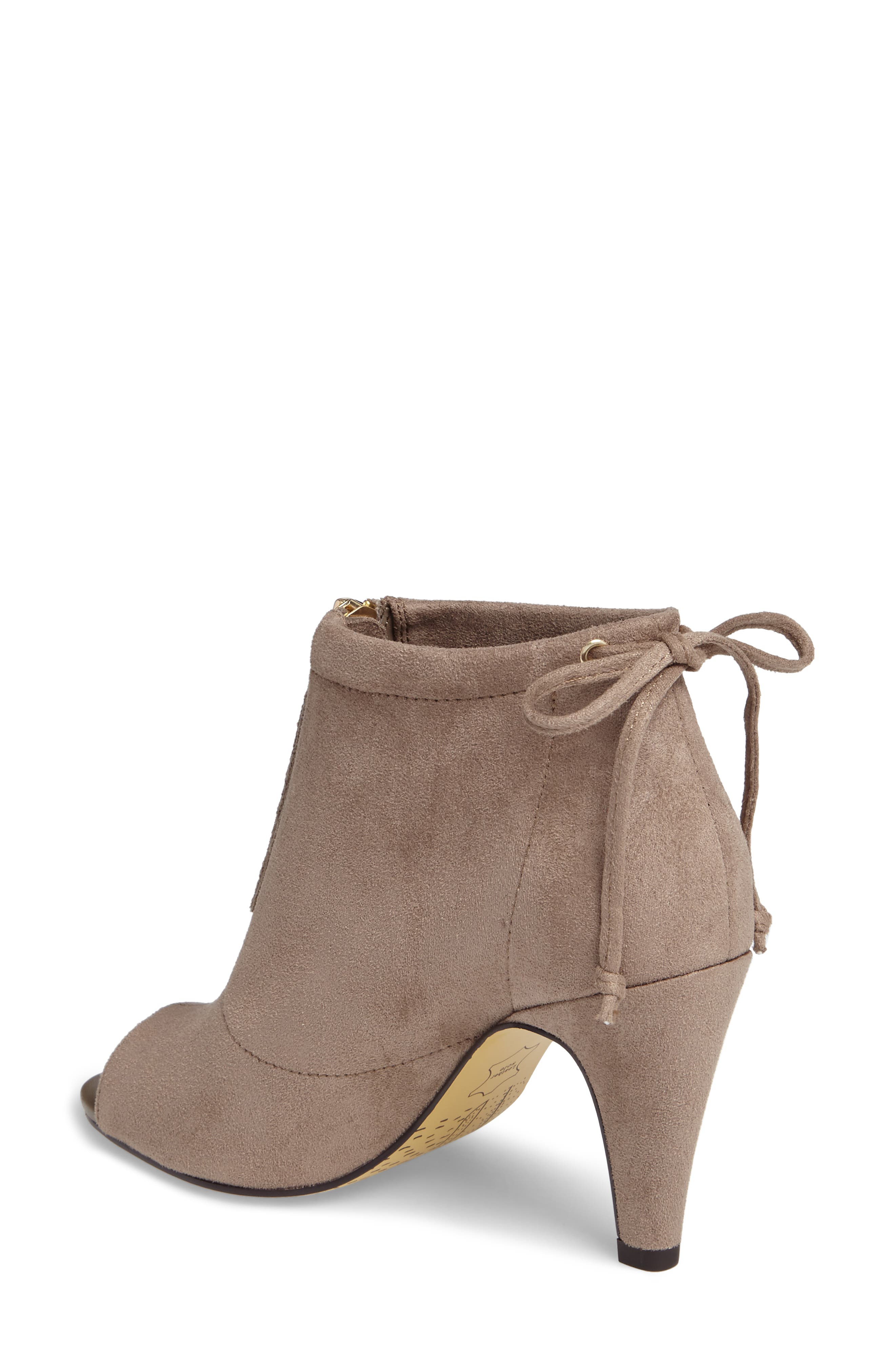 Nicky II Zip Front Bootie,                             Alternate thumbnail 2, color,                             STONE FAUX SUEDE