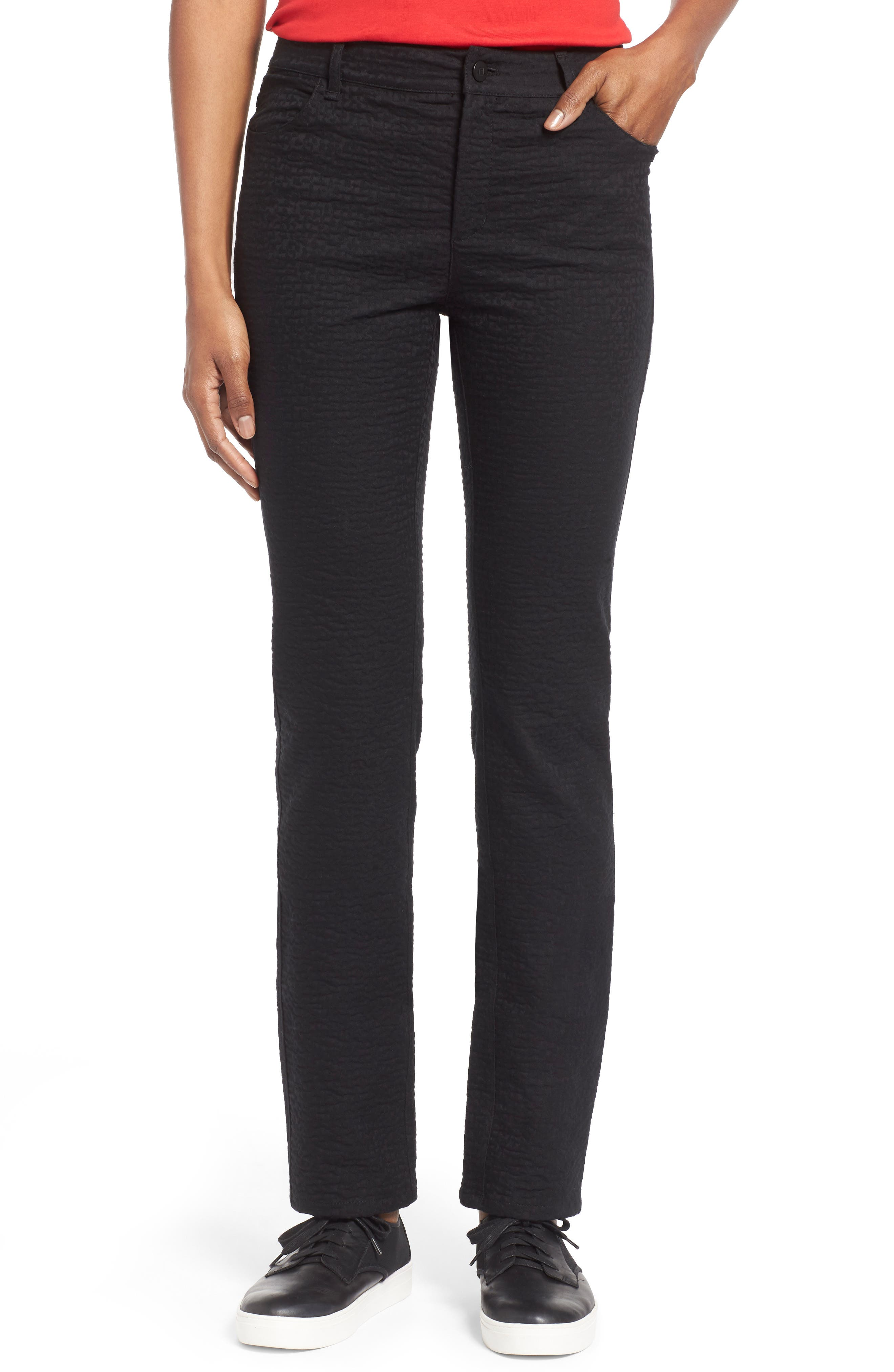Curvy Fit Jacquard Stretch Slim Leg Jeans,                         Main,                         color, 001