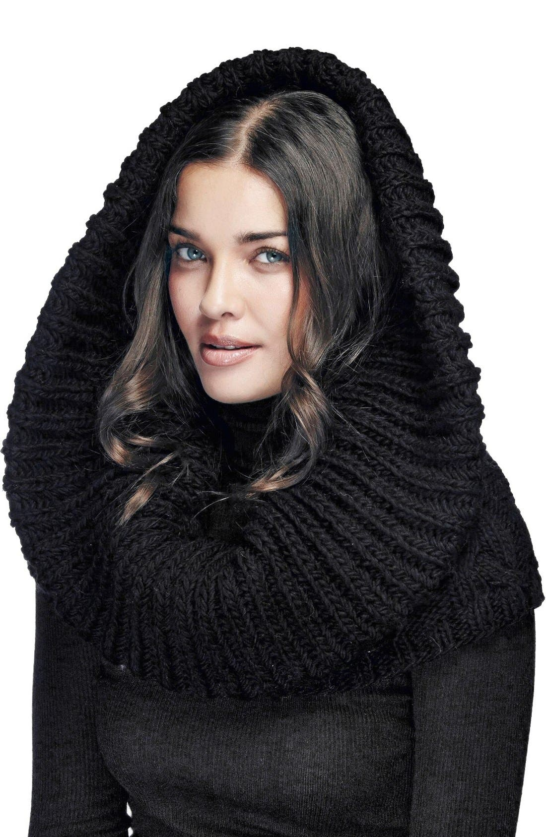 Oversize Cable Knit Wool Infinity Scarf,                             Alternate thumbnail 3, color,                             BLACK