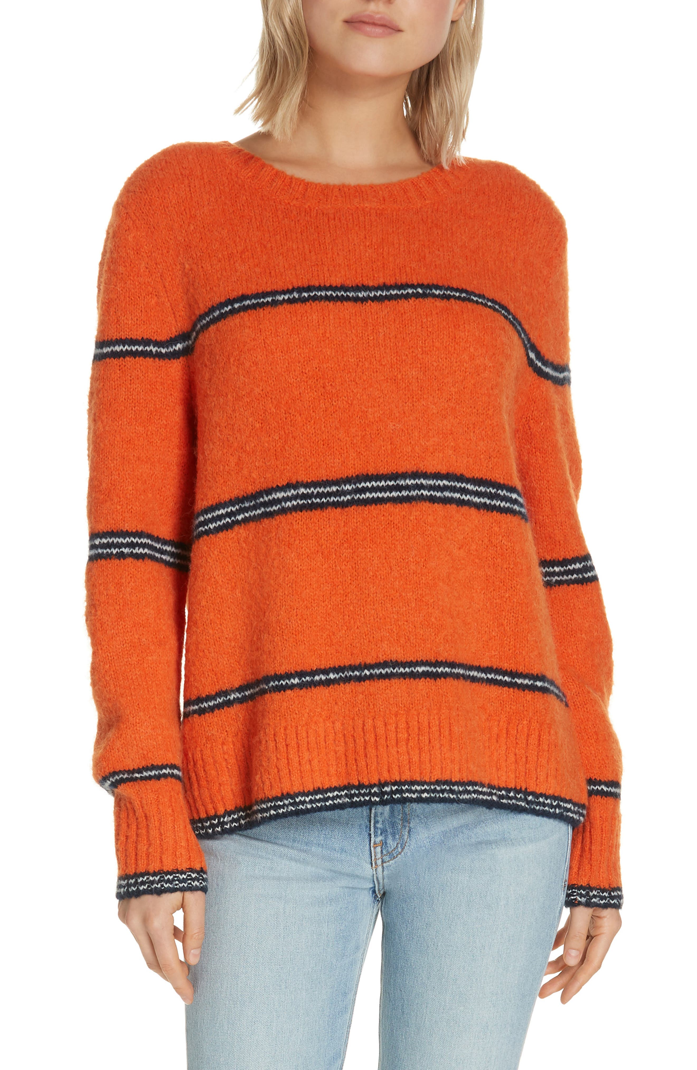 FRAME Stripe Sweater, Main, color, PERSIMMON MULTI