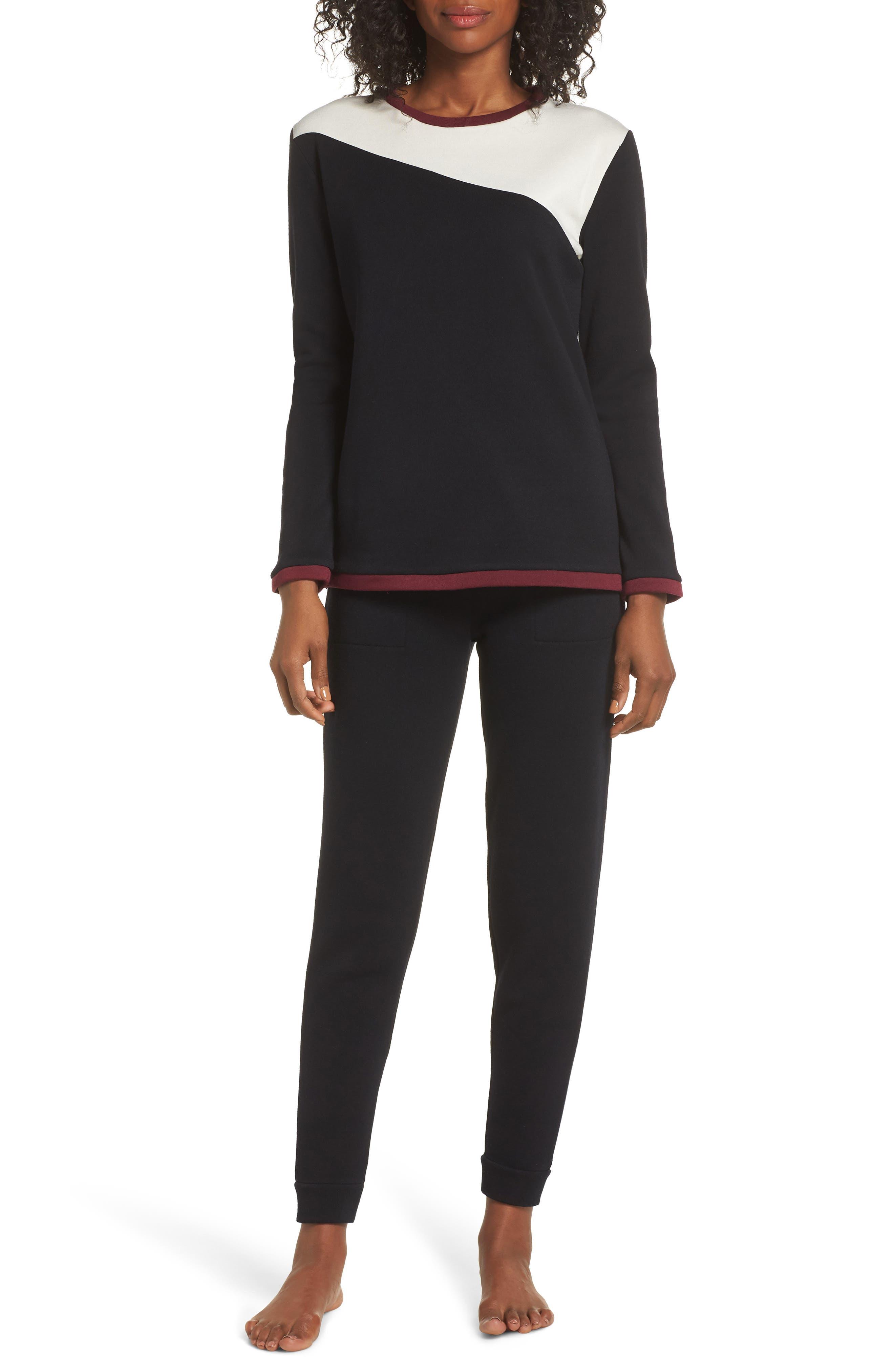 Fleece Cozy Lounger Pajamas,                             Main thumbnail 1, color,                             BLACK