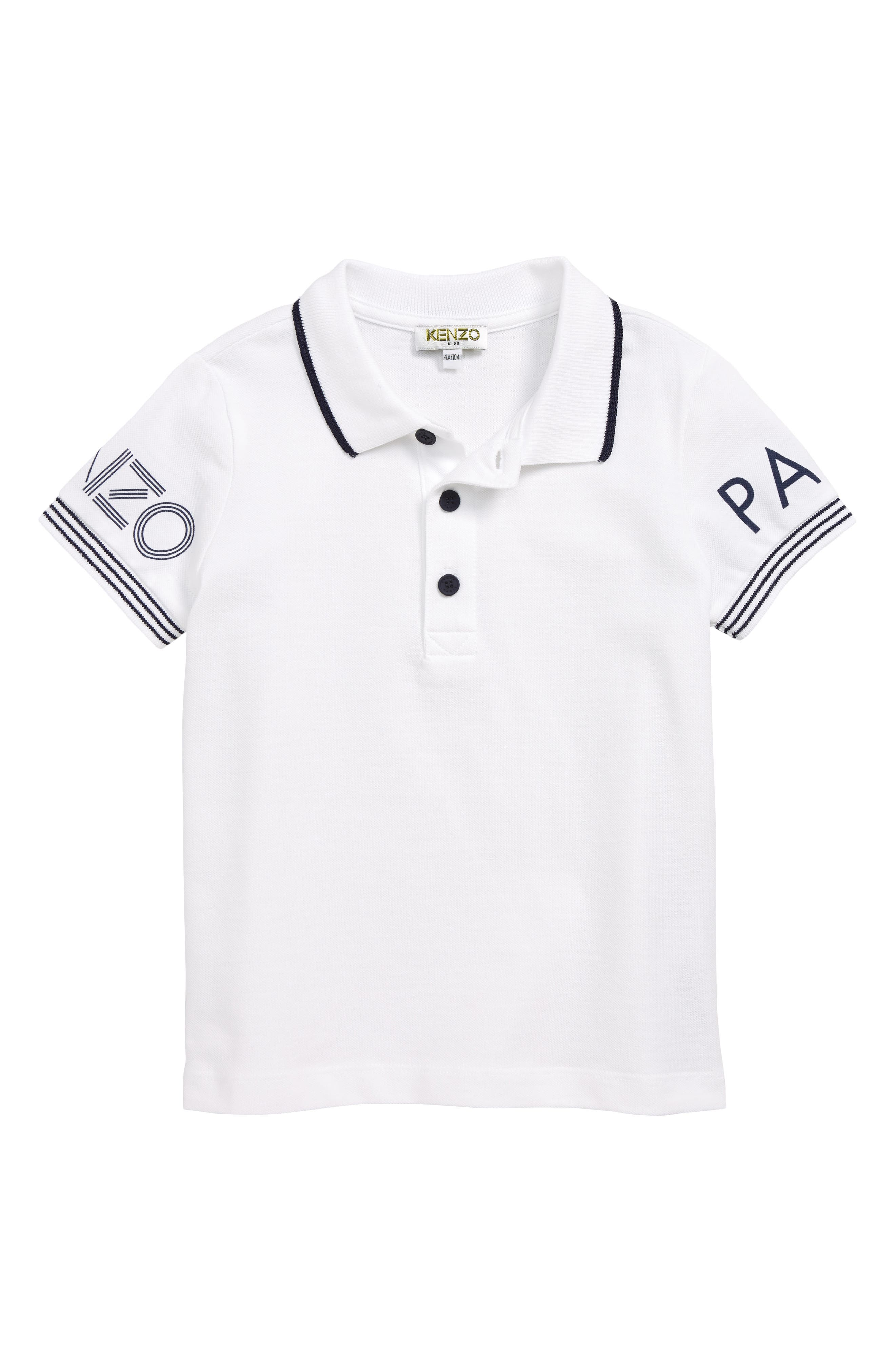 KENZO,                             Logo Tipped Piqué Polo,                             Main thumbnail 1, color,                             WHITE