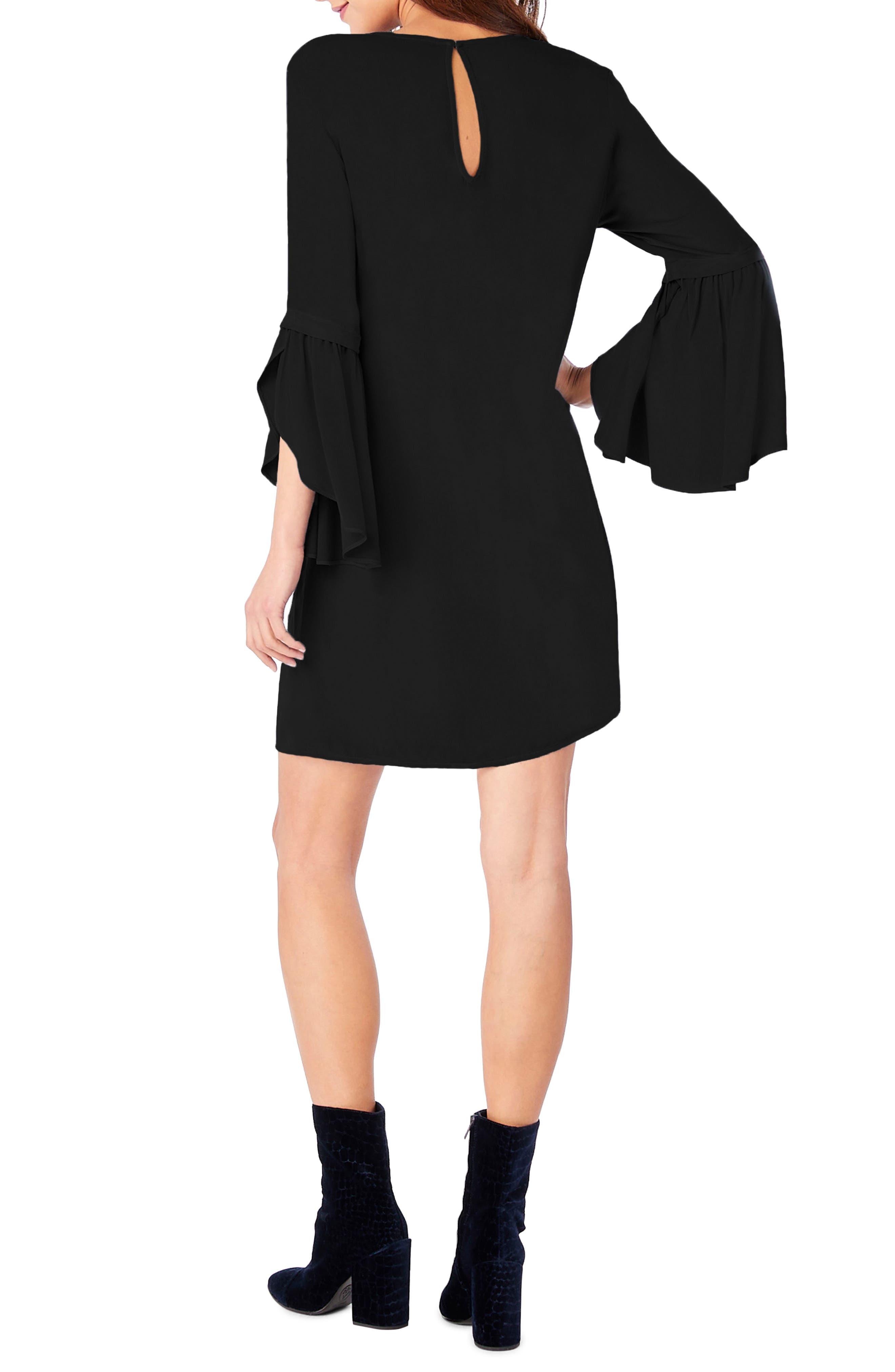 Bell Sleeve Shift Dress,                             Alternate thumbnail 2, color,                             001