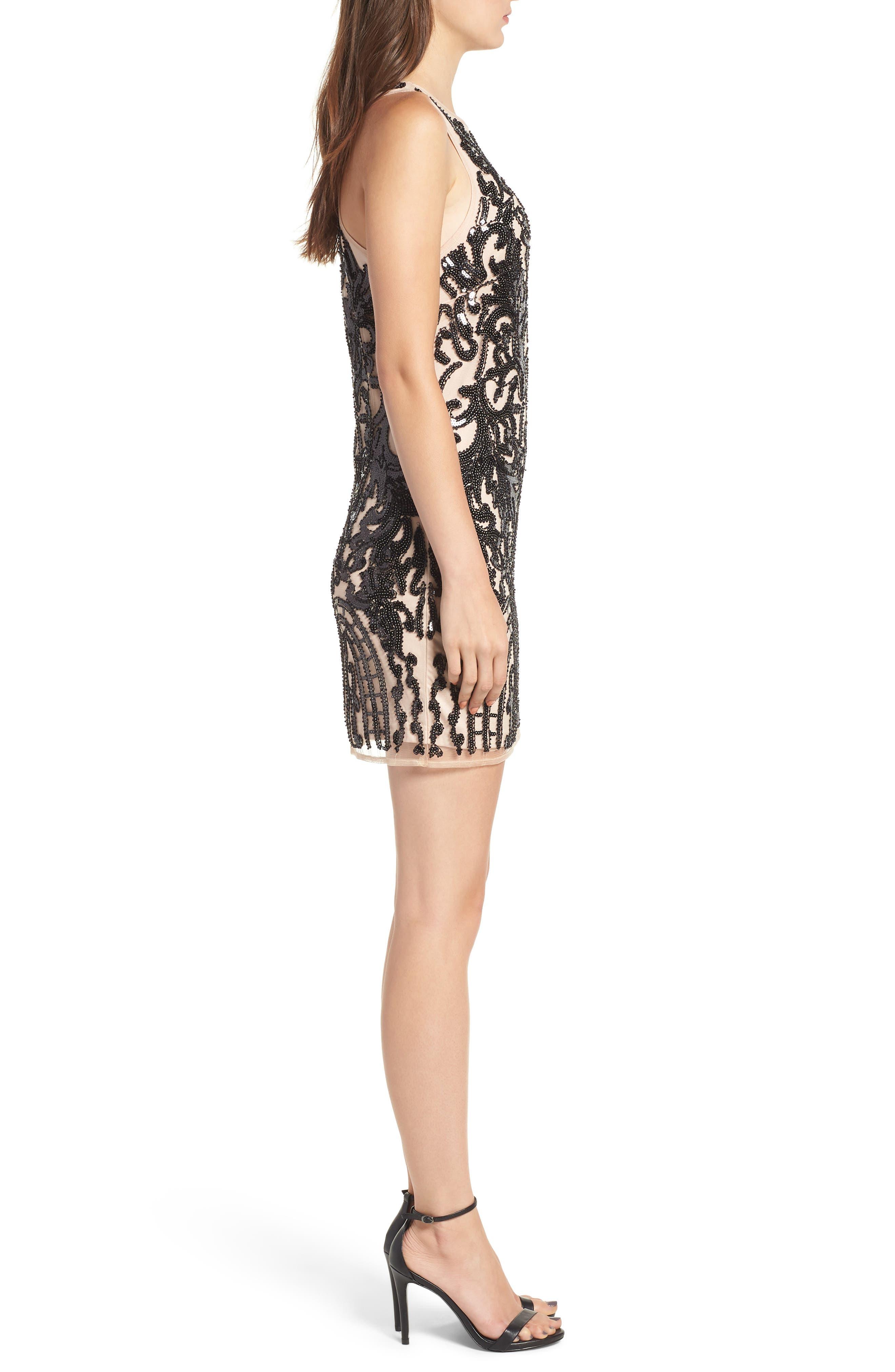Sequin Embellished Dress,                             Alternate thumbnail 3, color,                             BLACK