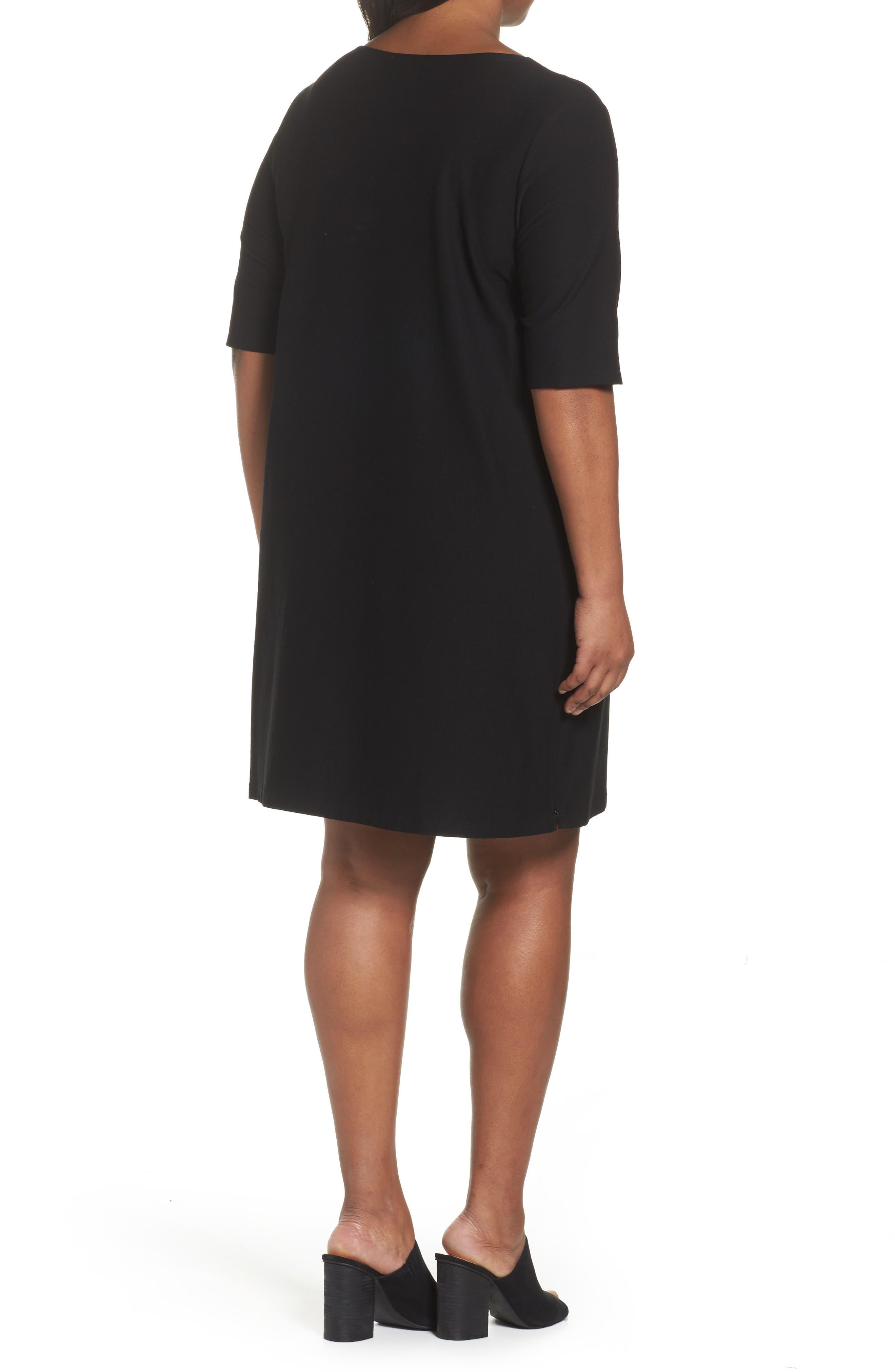 Side Zip Knit Shift Dress,                             Alternate thumbnail 2, color,                             001