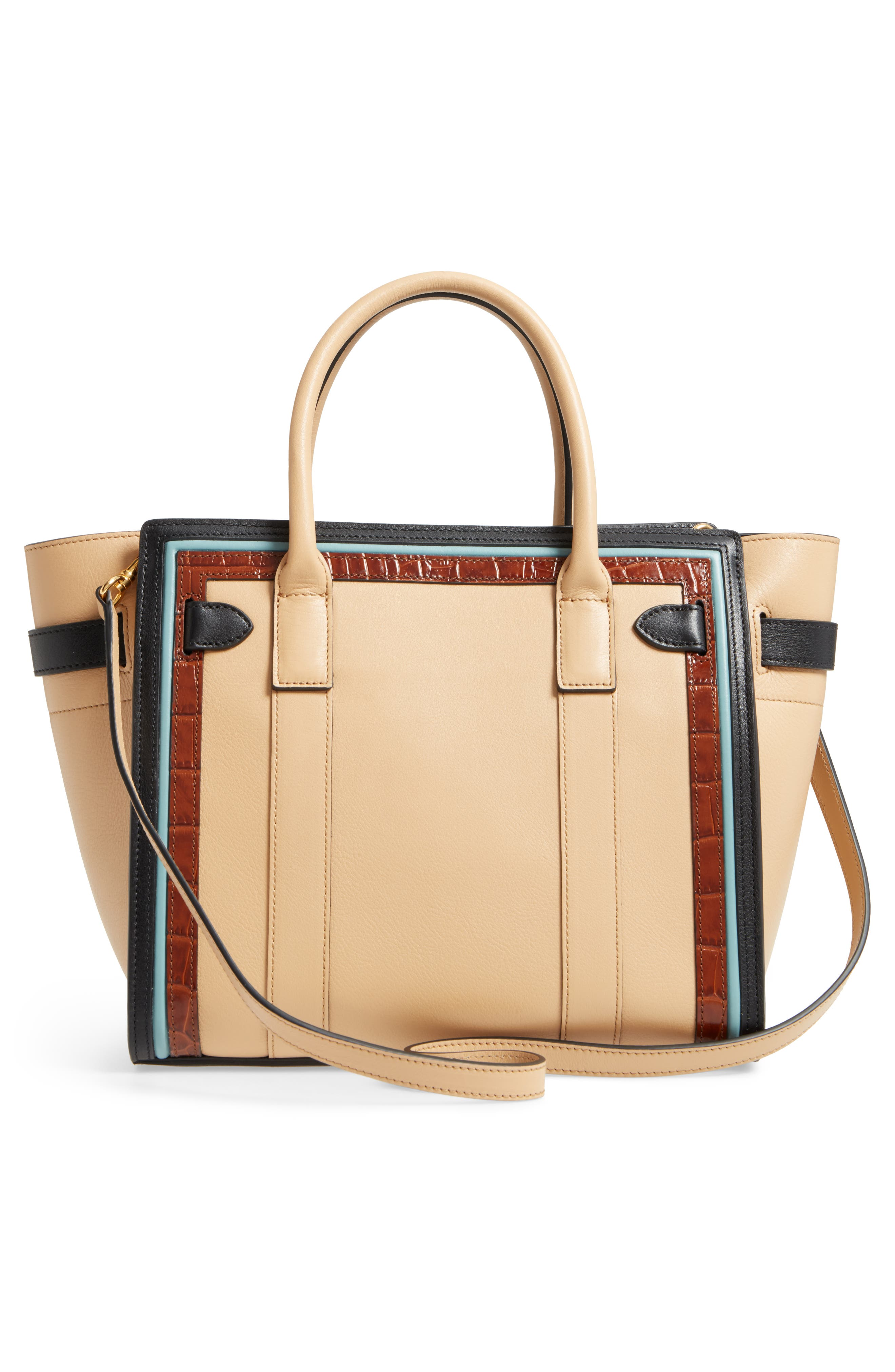 Small Bayswater Leather Satchel,                             Alternate thumbnail 3, color,                             010