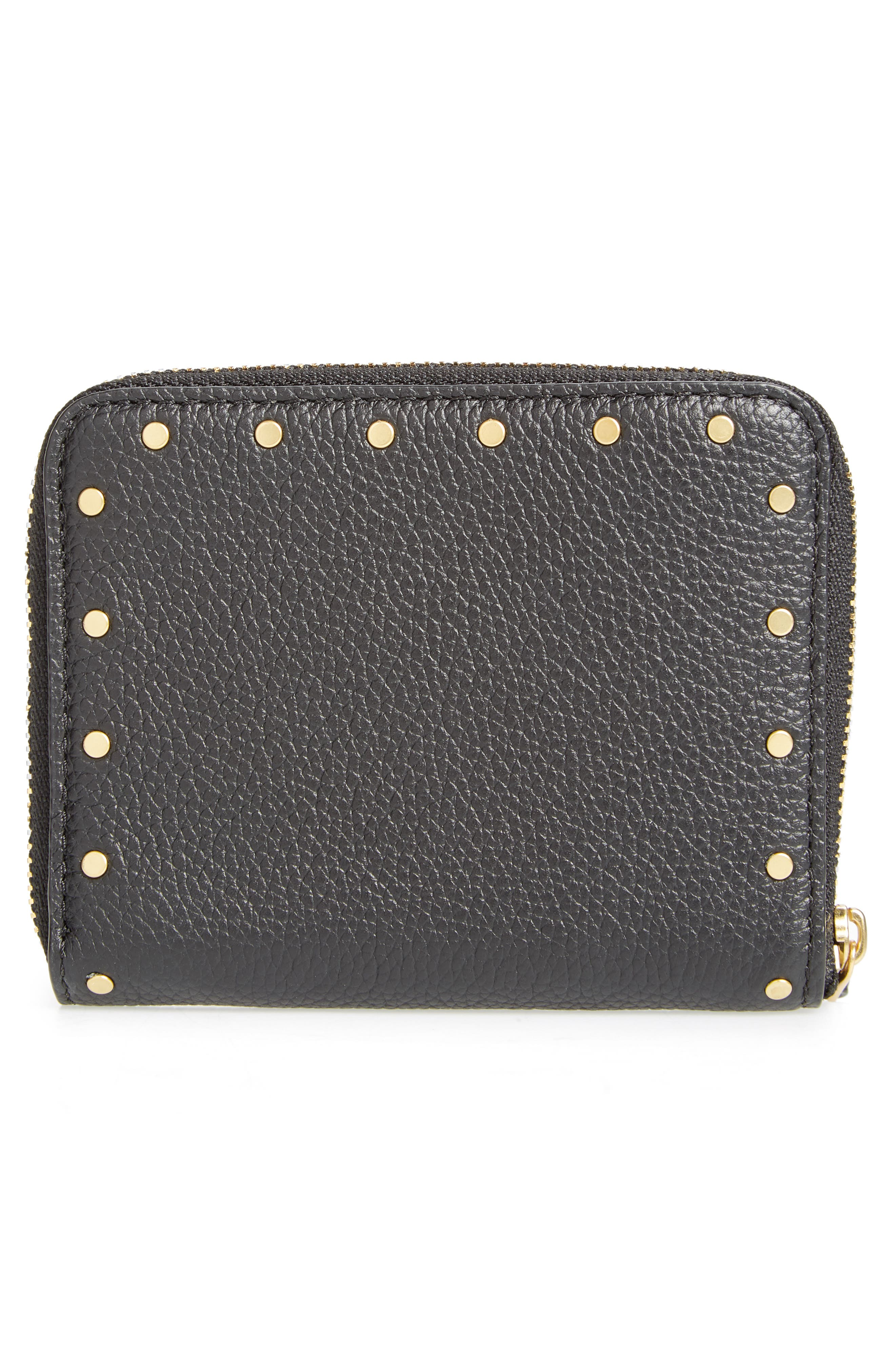 Small Rivets Leather Zip Around Wallet,                             Alternate thumbnail 4, color,                             001