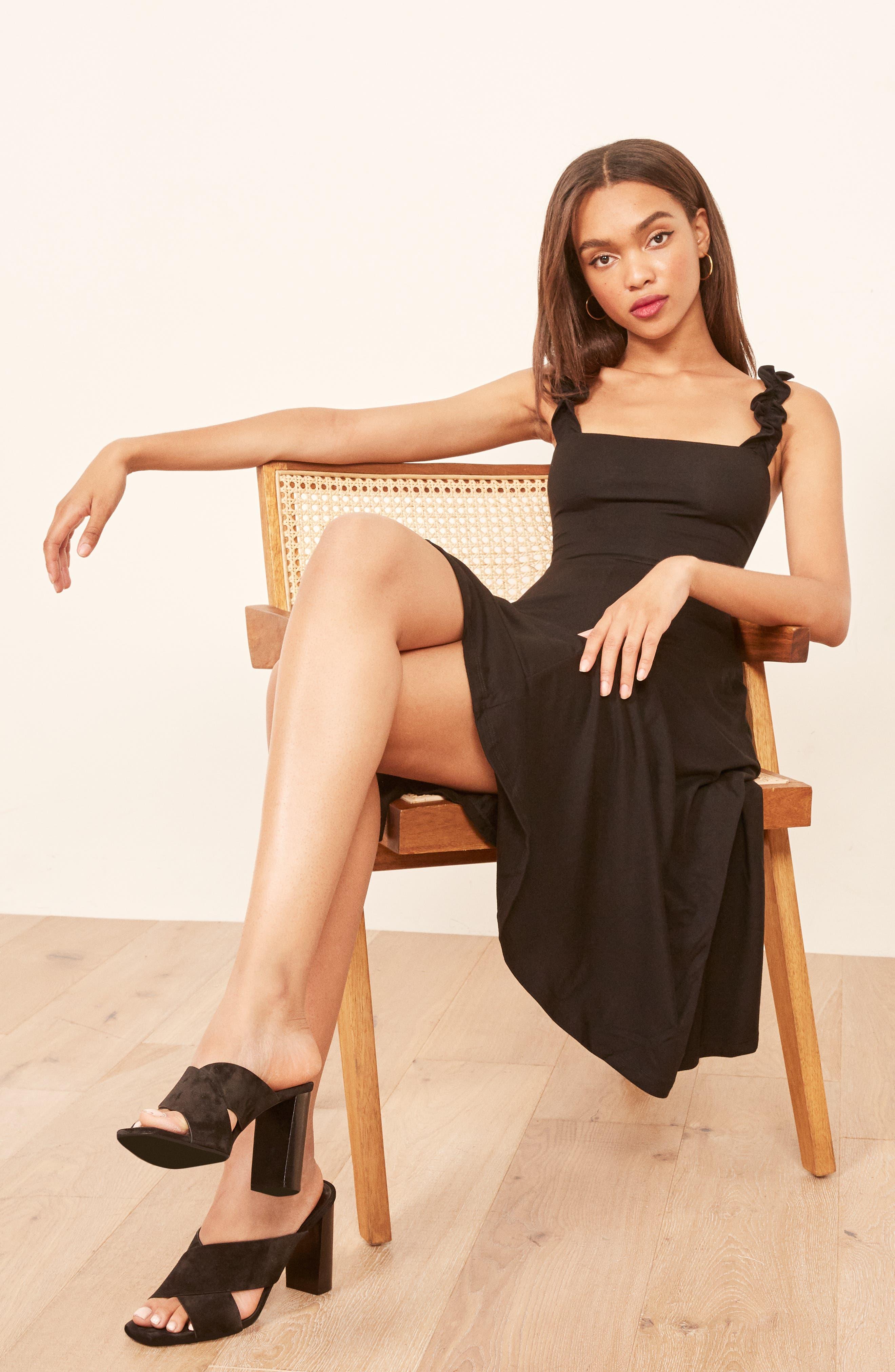 Eda Ruffle Strap Dress,                             Alternate thumbnail 2, color,                             BLACK