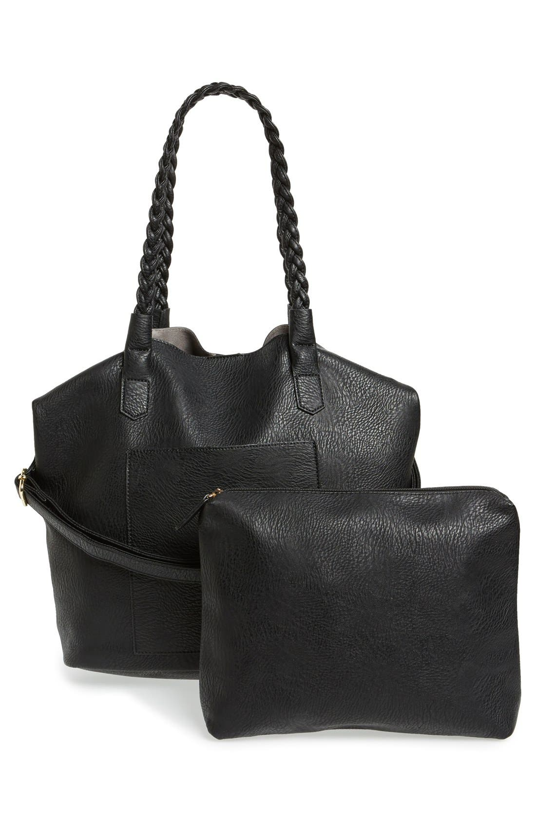 Slouchy Faux Leather Tote with Pouch,                             Alternate thumbnail 7, color,                             001