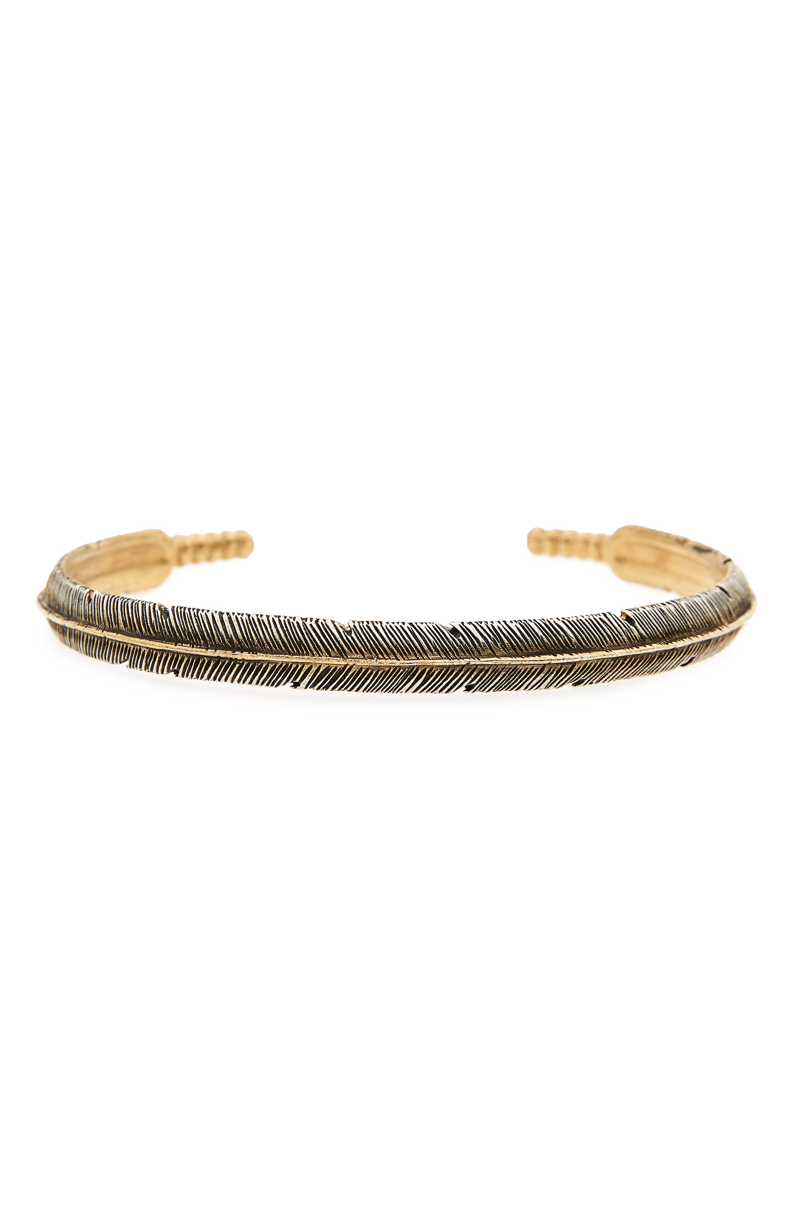 Silver Feather Cuff Bracelet,                         Main,                         color, 040