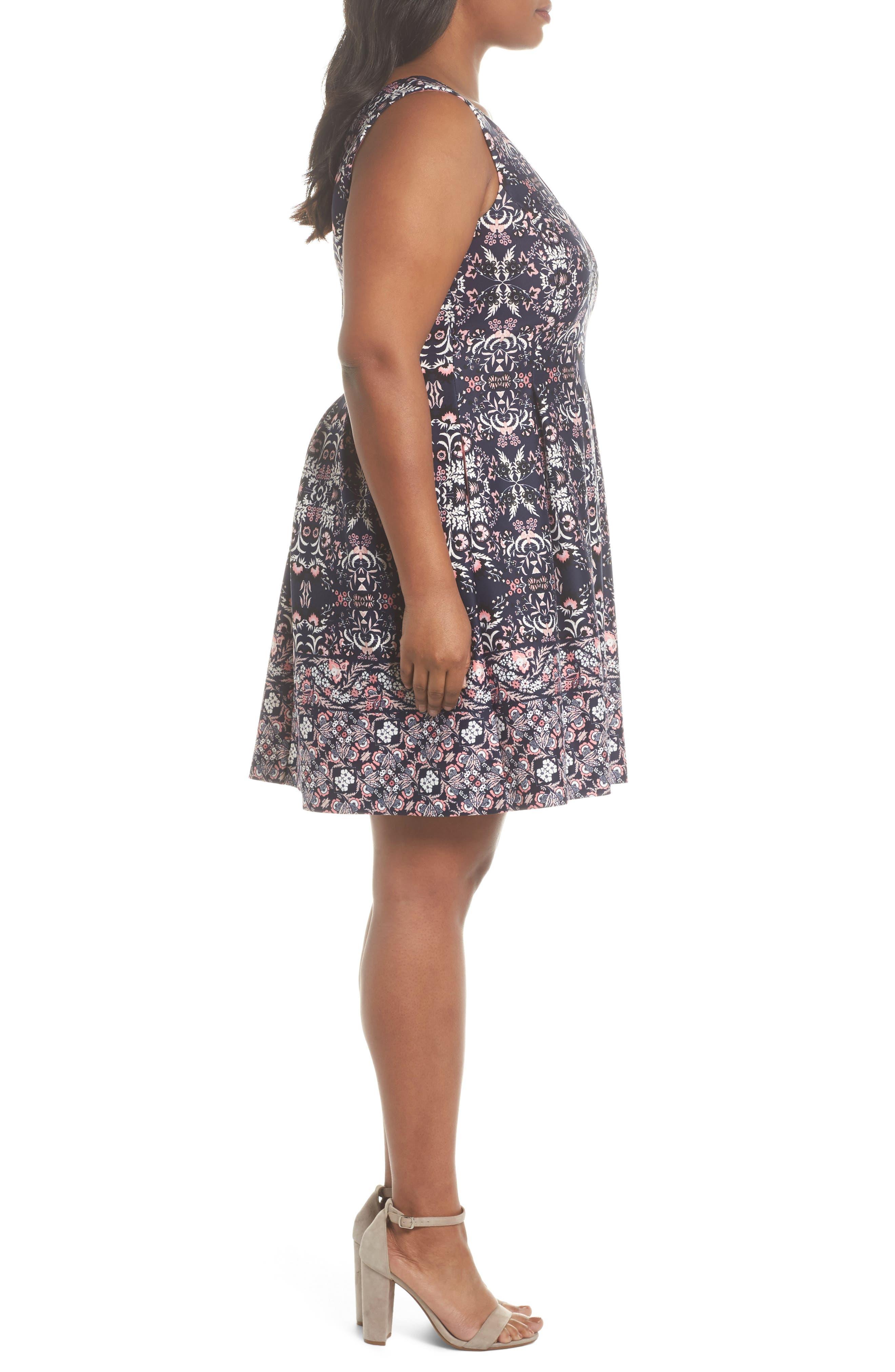 Scuba Fit & Flare Dress,                             Alternate thumbnail 3, color,                             470