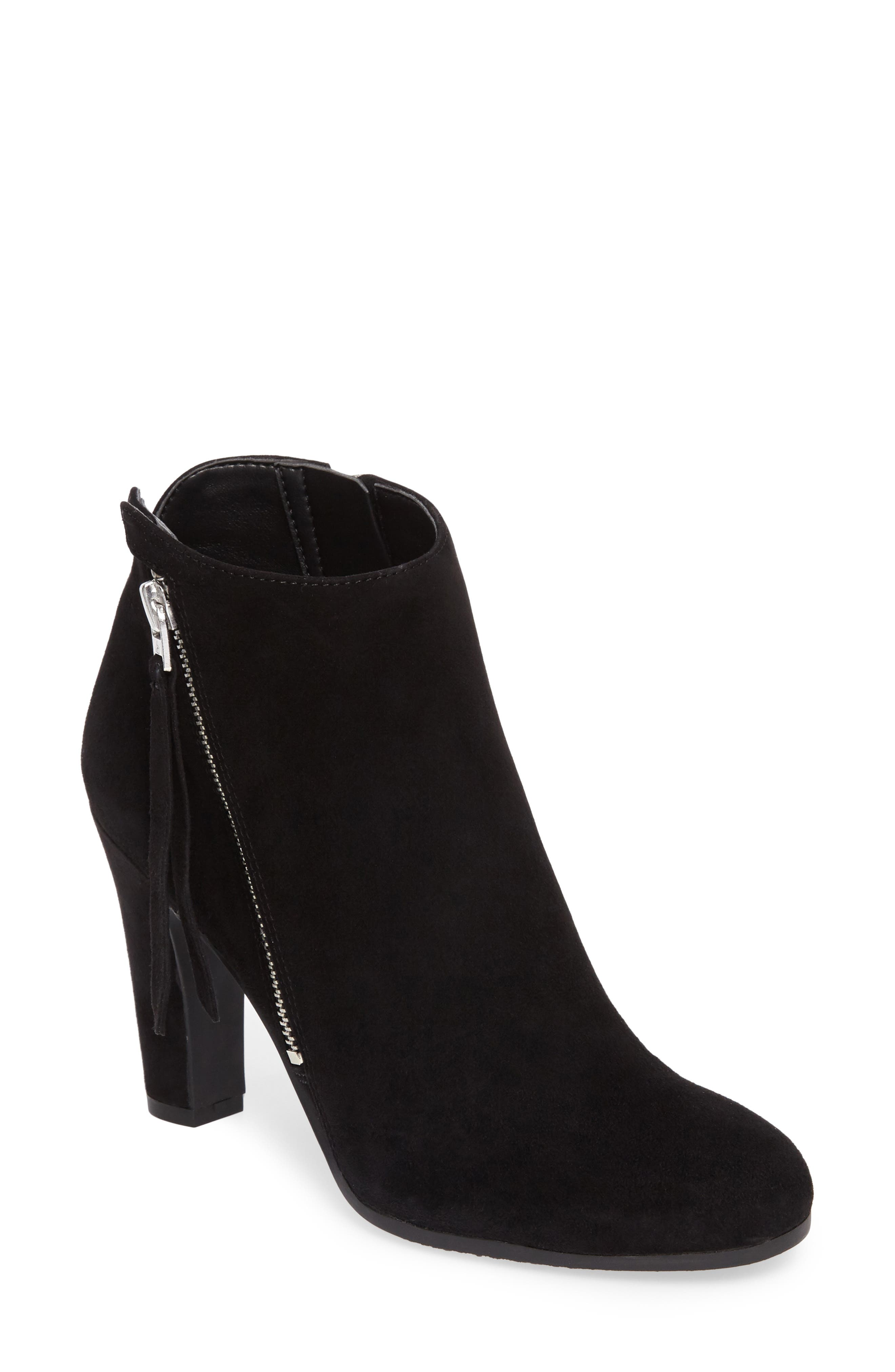 Sadee Angle Zip Bootie,                             Main thumbnail 1, color,                             BLACK SUEDE