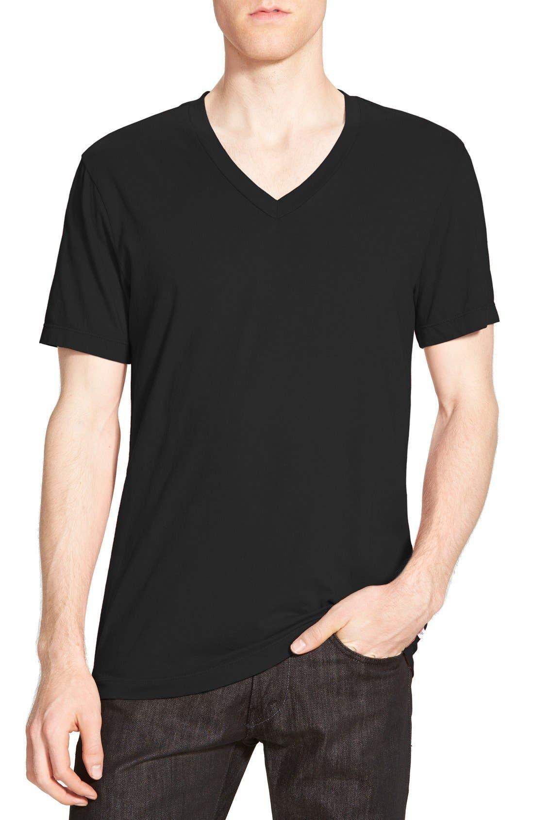 Short Sleeve V-Neck T-Shirt,                             Main thumbnail 1, color,                             BLACK
