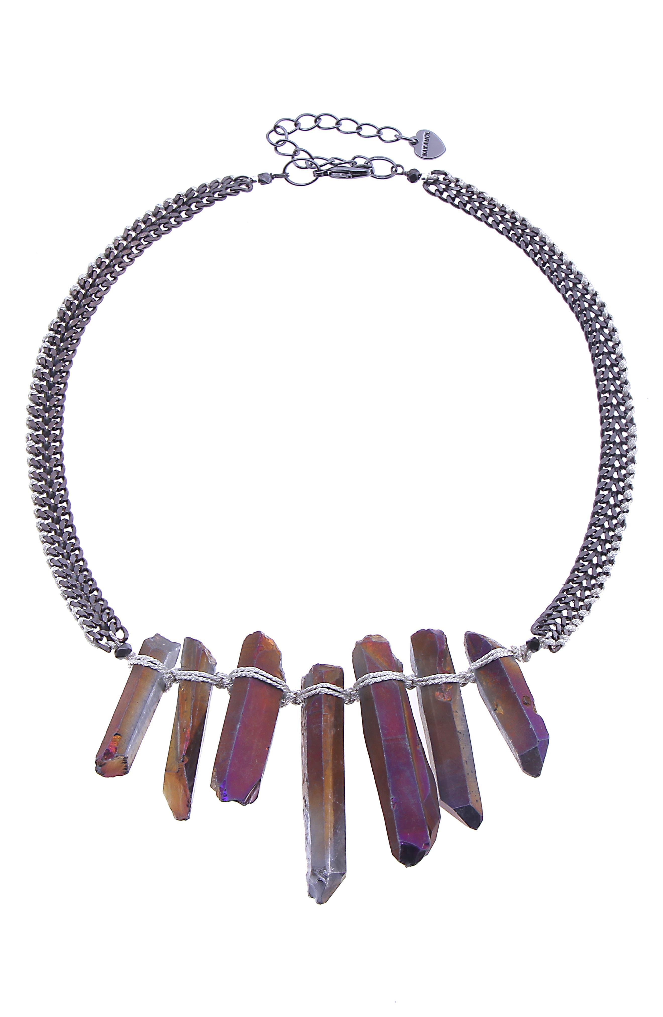 Amazonite Stick Statement Necklace,                         Main,                         color, PURPLE