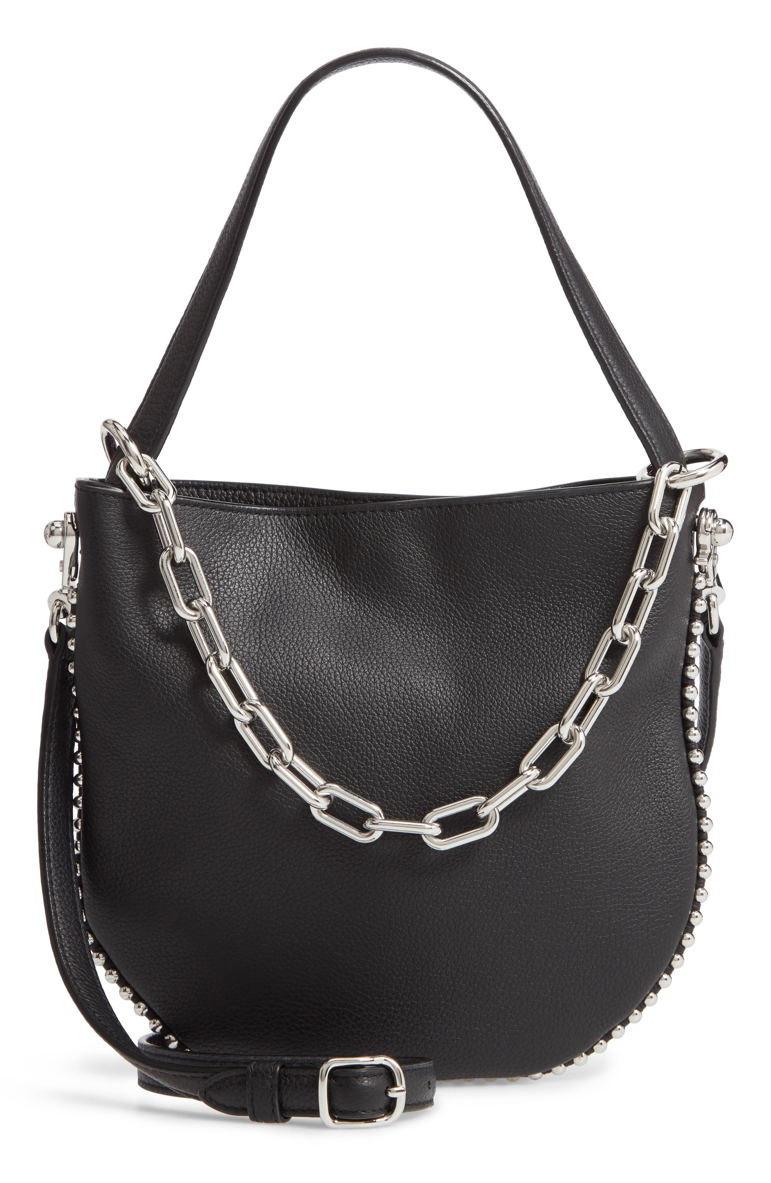 Mini Roxy Leather Bucket Bag,                             Main thumbnail 1, color,                             BLACK