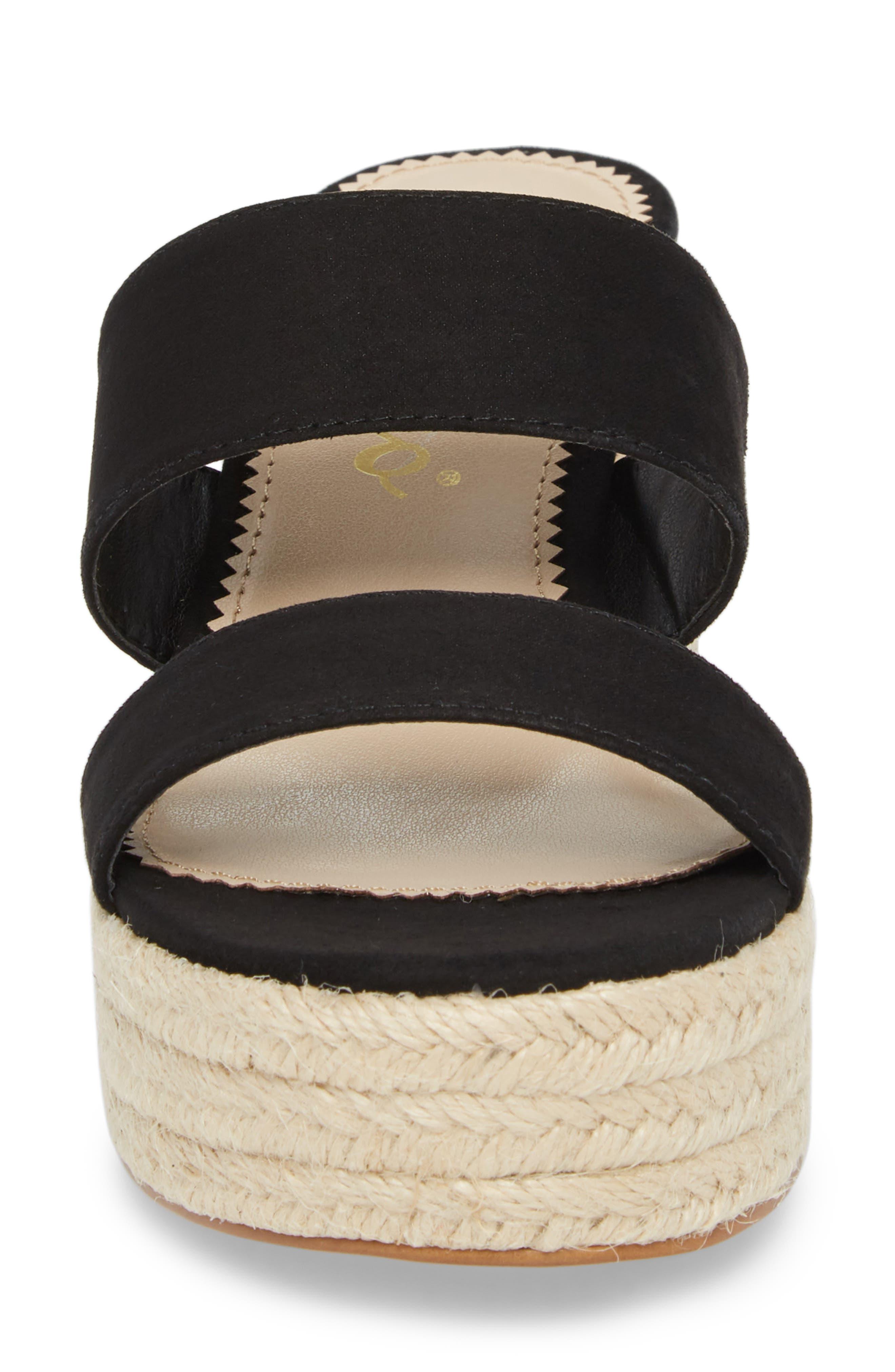 Foundation Platform Slide Sandal,                             Alternate thumbnail 4, color,                             BLACK SUEDE