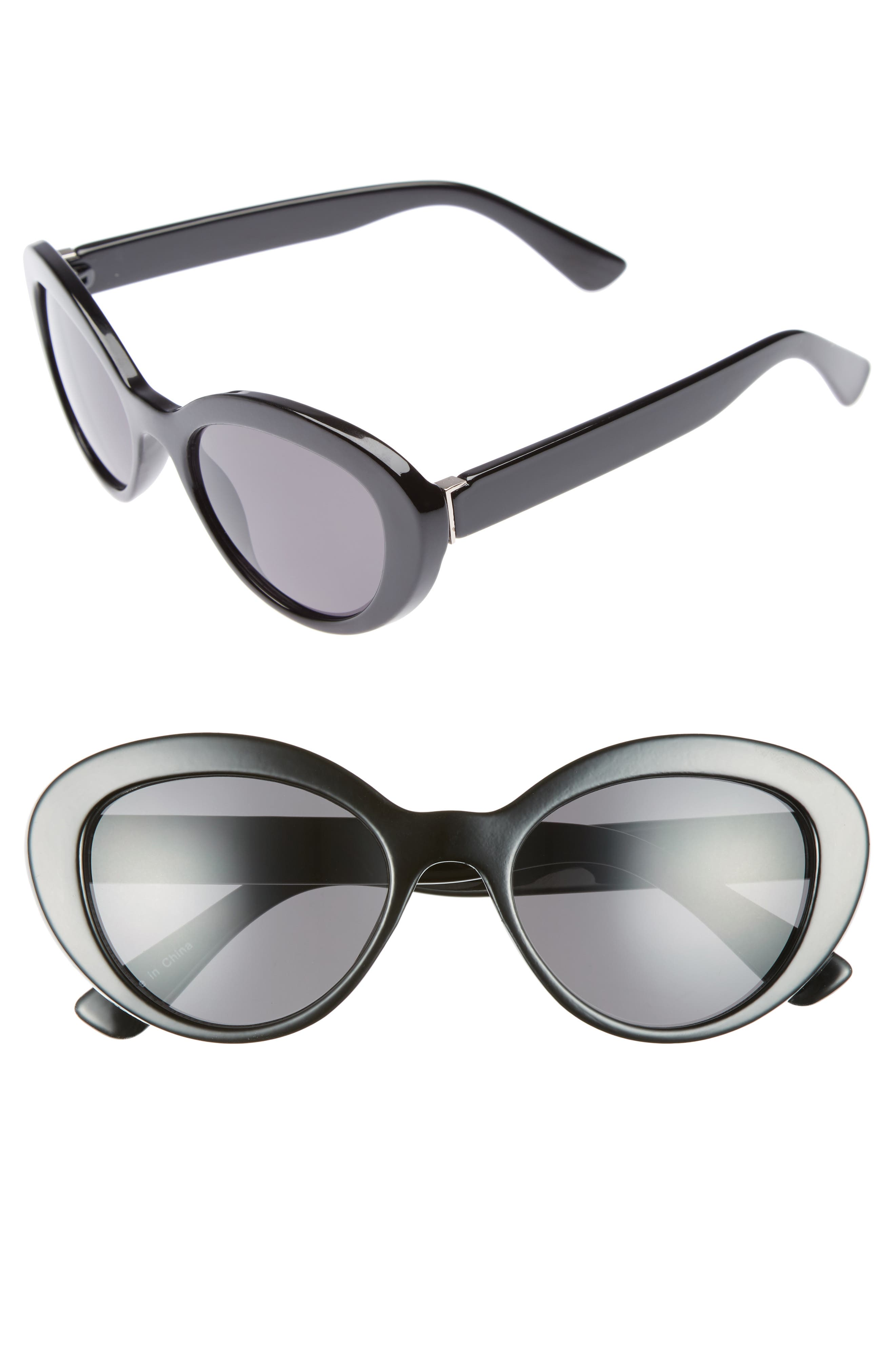 50mm Vintage Cat Eye Sunglasses,                             Main thumbnail 1, color,                             001