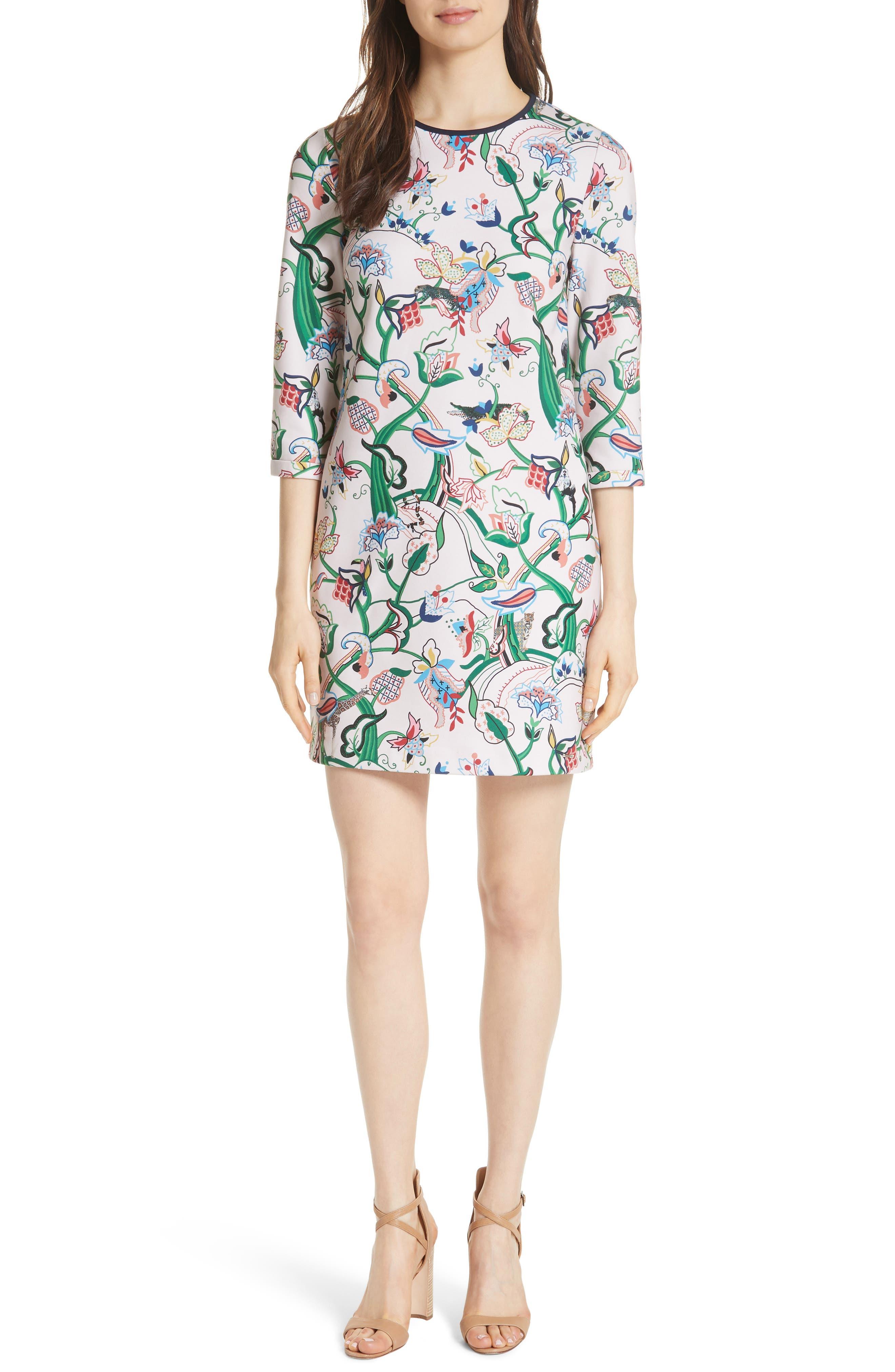 Volca Jungle Print Shift Dress,                         Main,                         color, 652
