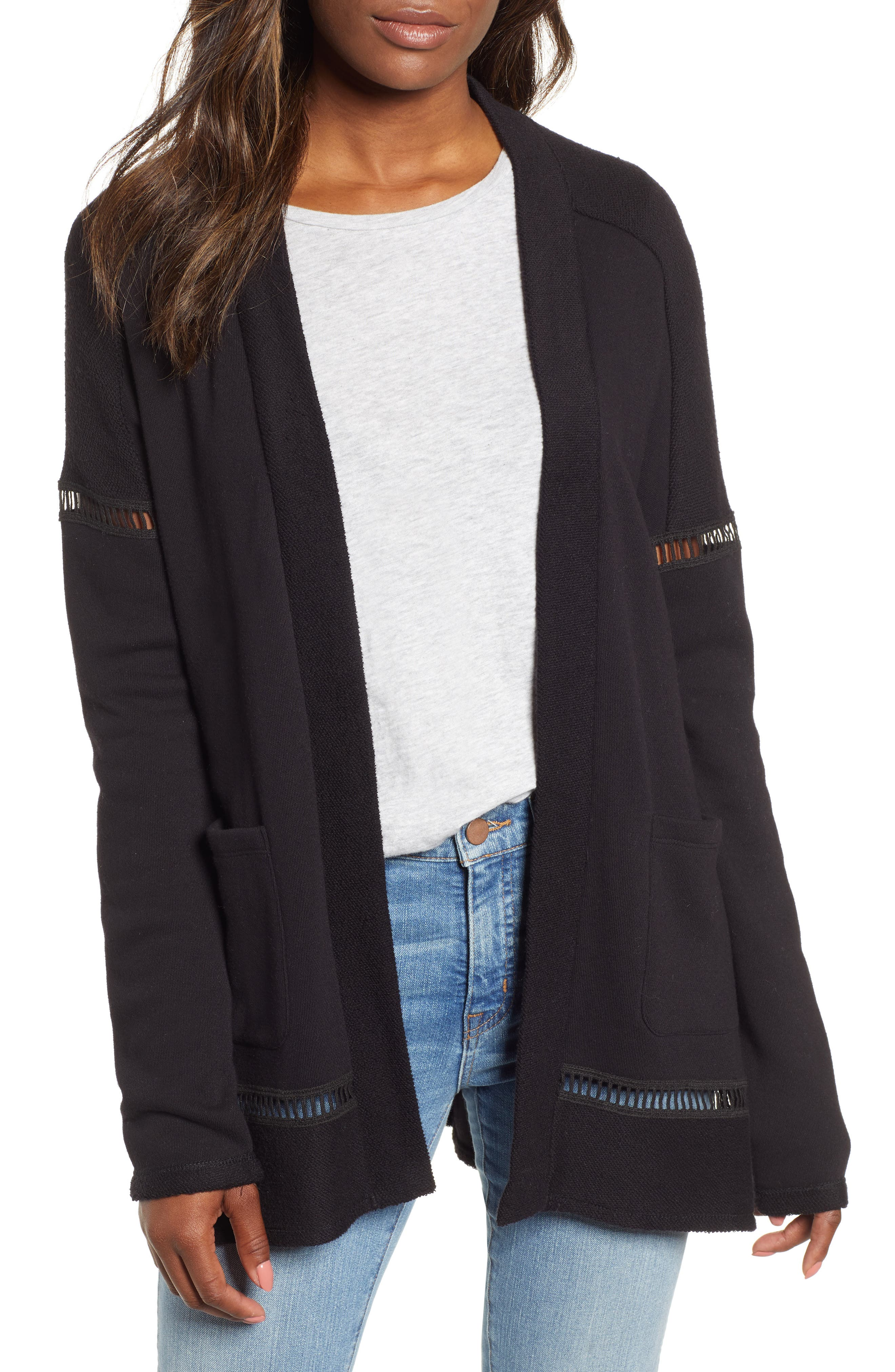 French Terry Open Front Cotton Cardigan,                         Main,                         color, BLACK