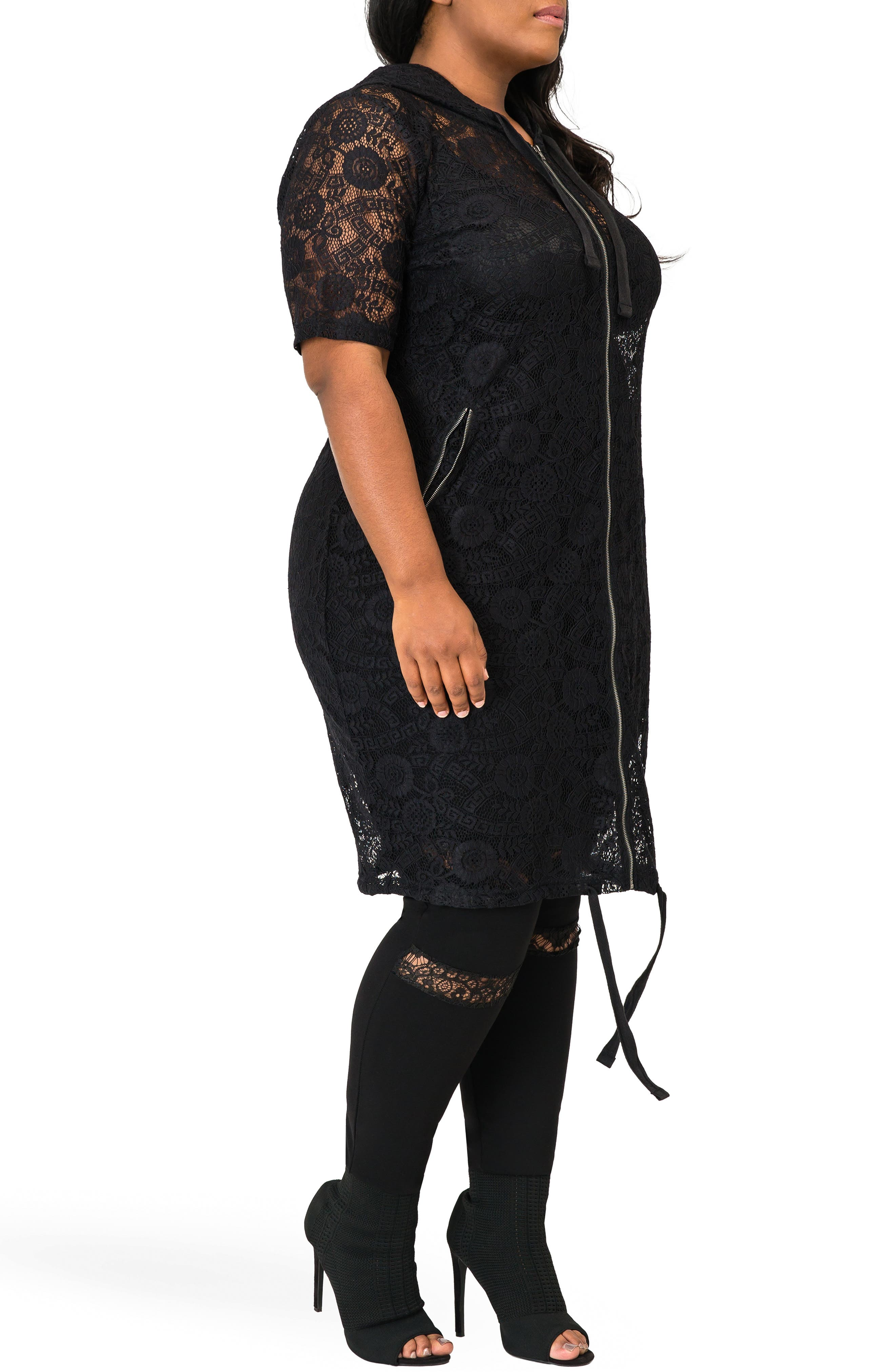 POETIC JUSTICE,                             Kenny Zip-Up Sheer Lace Hooded Jacket,                             Alternate thumbnail 2, color,                             BLACK