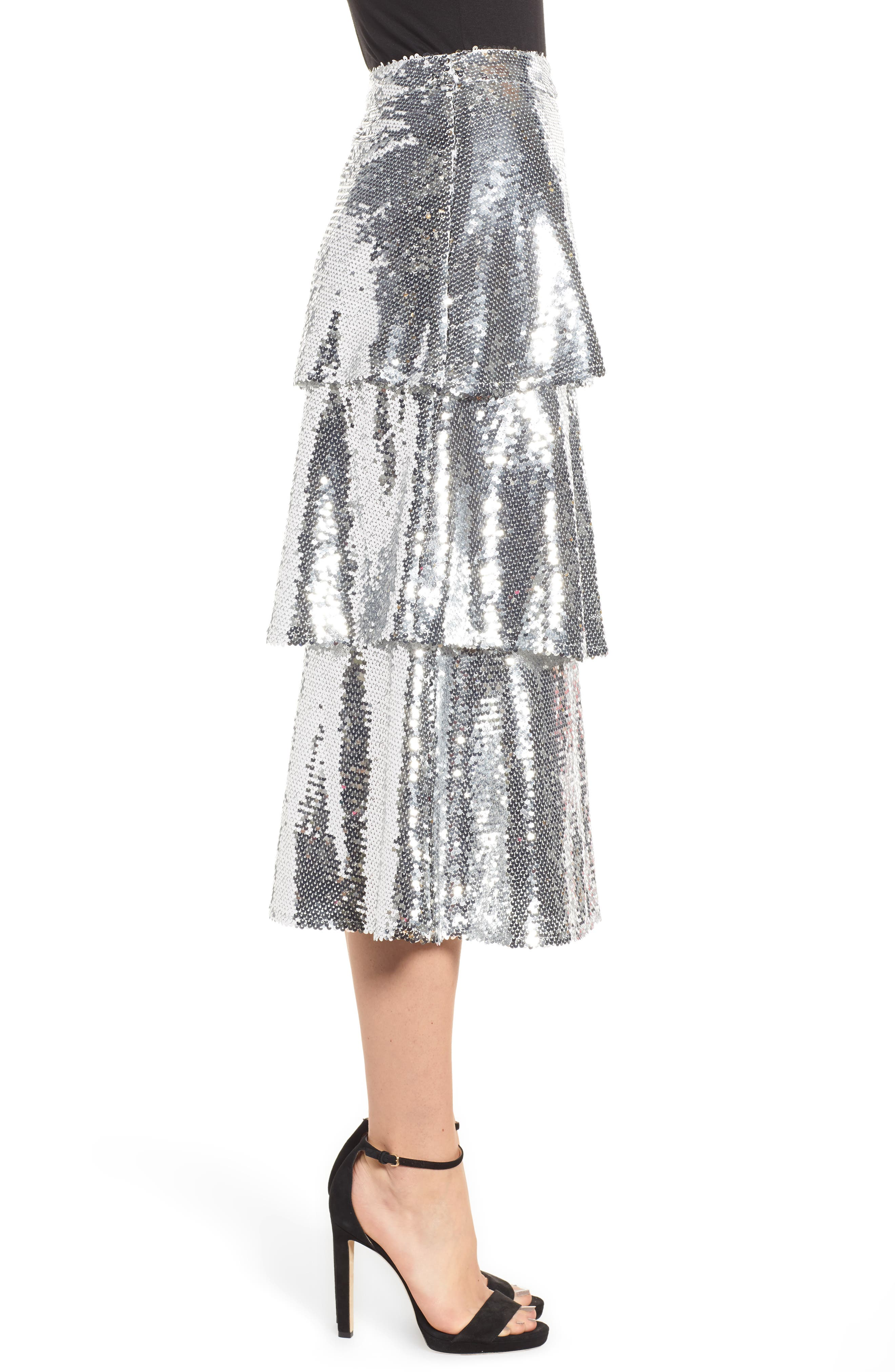 Tiered Sequin Midi Skirt,                             Alternate thumbnail 3, color,                             040