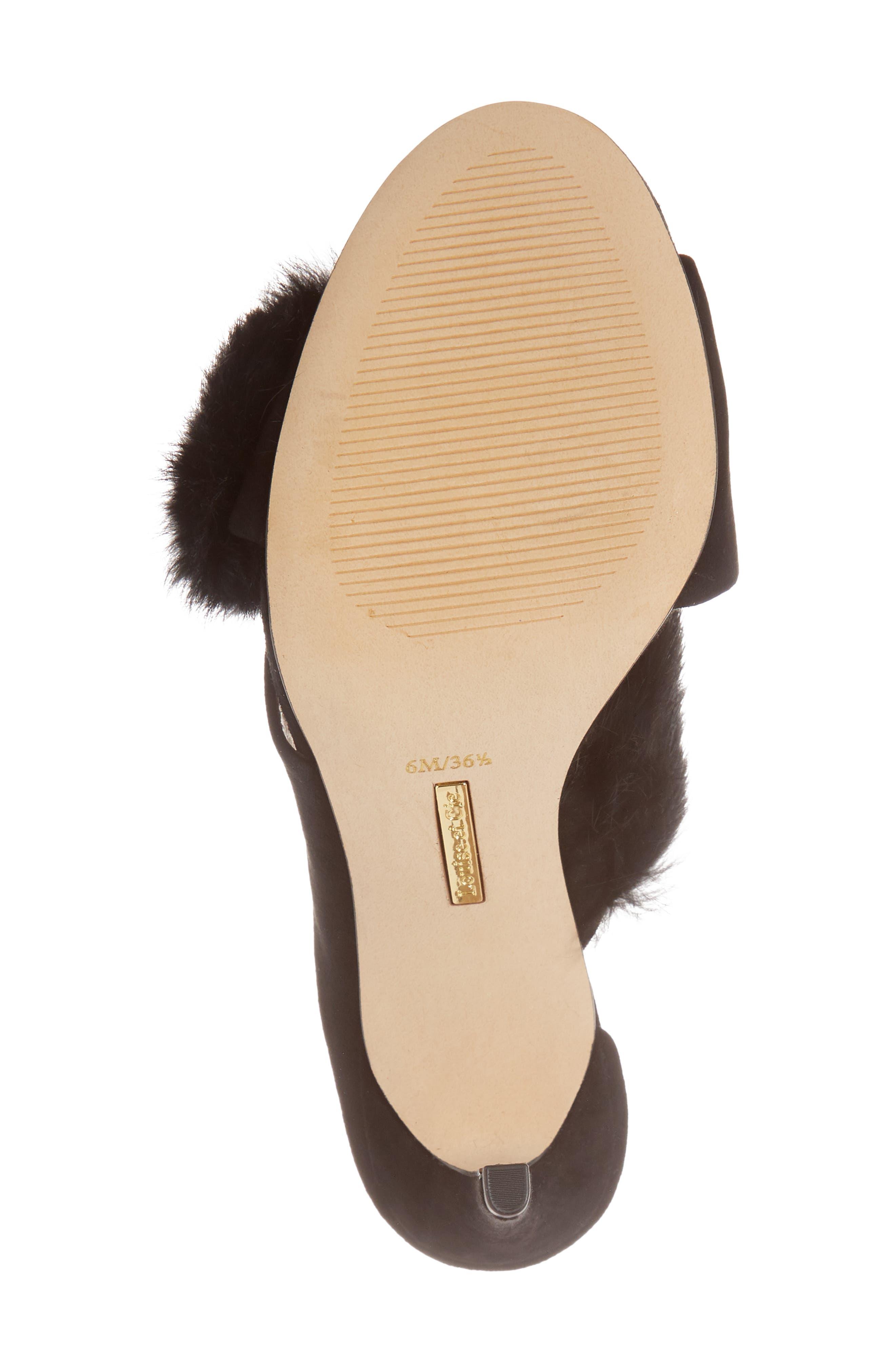 Halloway Genuine Rabbit Fur Sandal,                             Alternate thumbnail 6, color,                             BLACK RABBIT FUR
