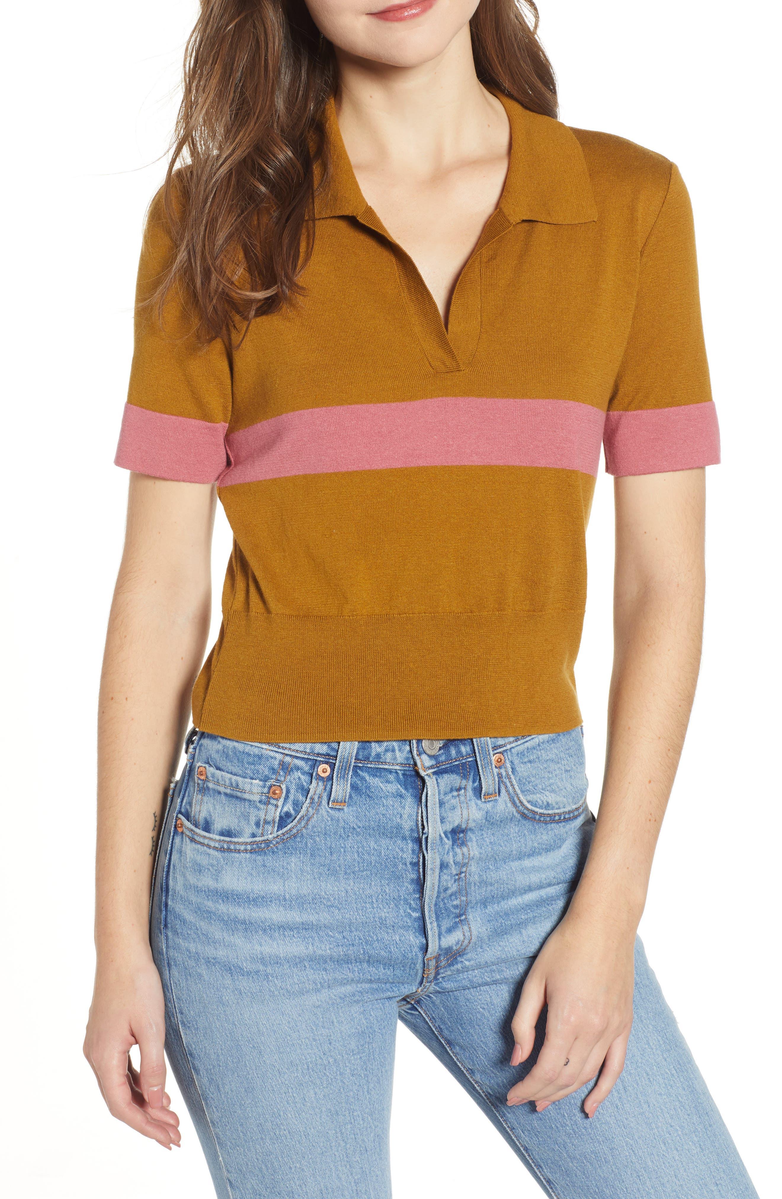 BP., Stripe Polo Sweater, Main thumbnail 1, color, BROWN BRONZE AIME STRIPE