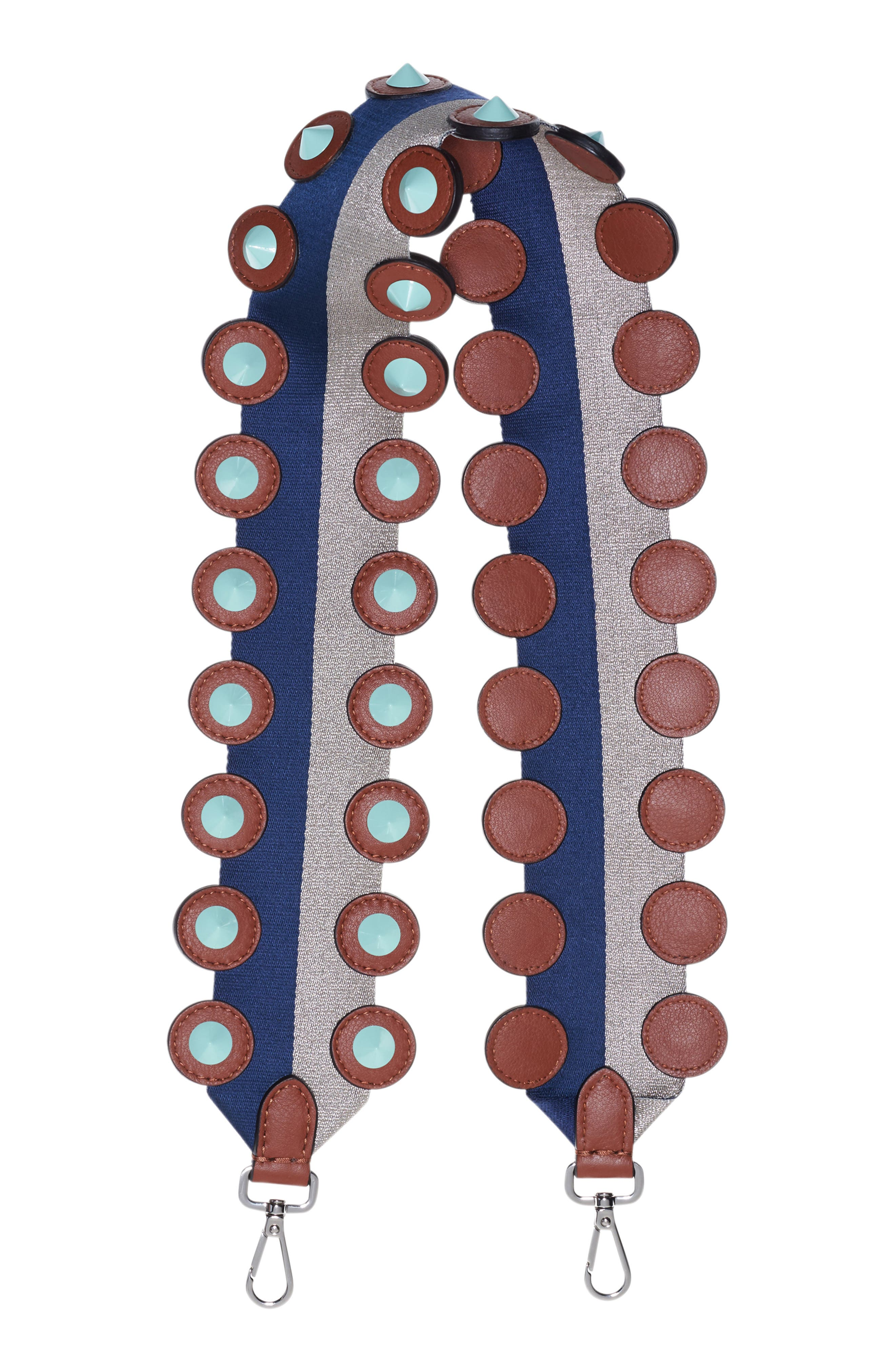 Strap You Studded Leather Guitar Bag Strap,                             Main thumbnail 1, color,                             NAVY/SILVER