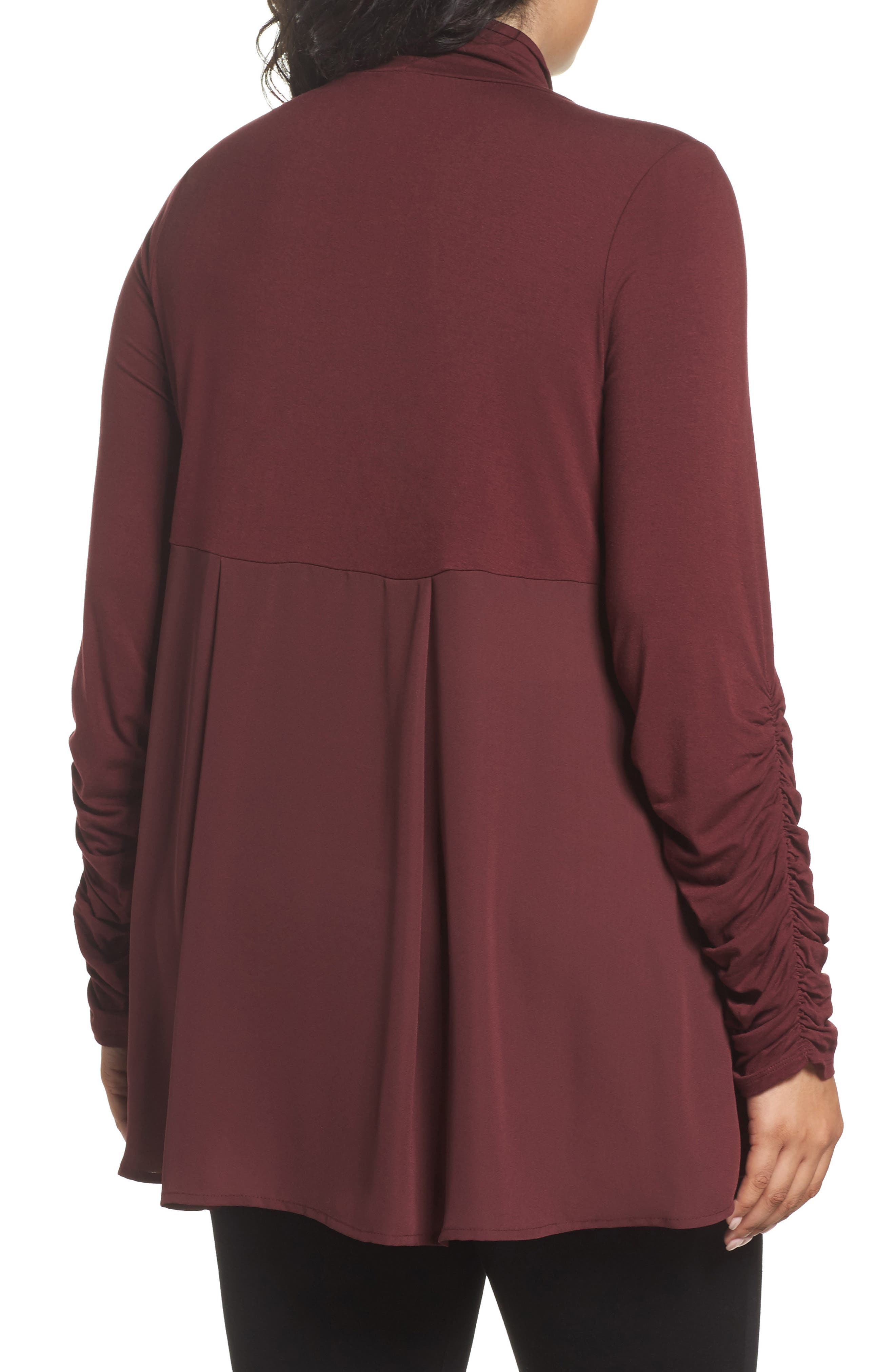 Ruched Sleeve Turtleneck Top,                             Alternate thumbnail 2, color,                             018