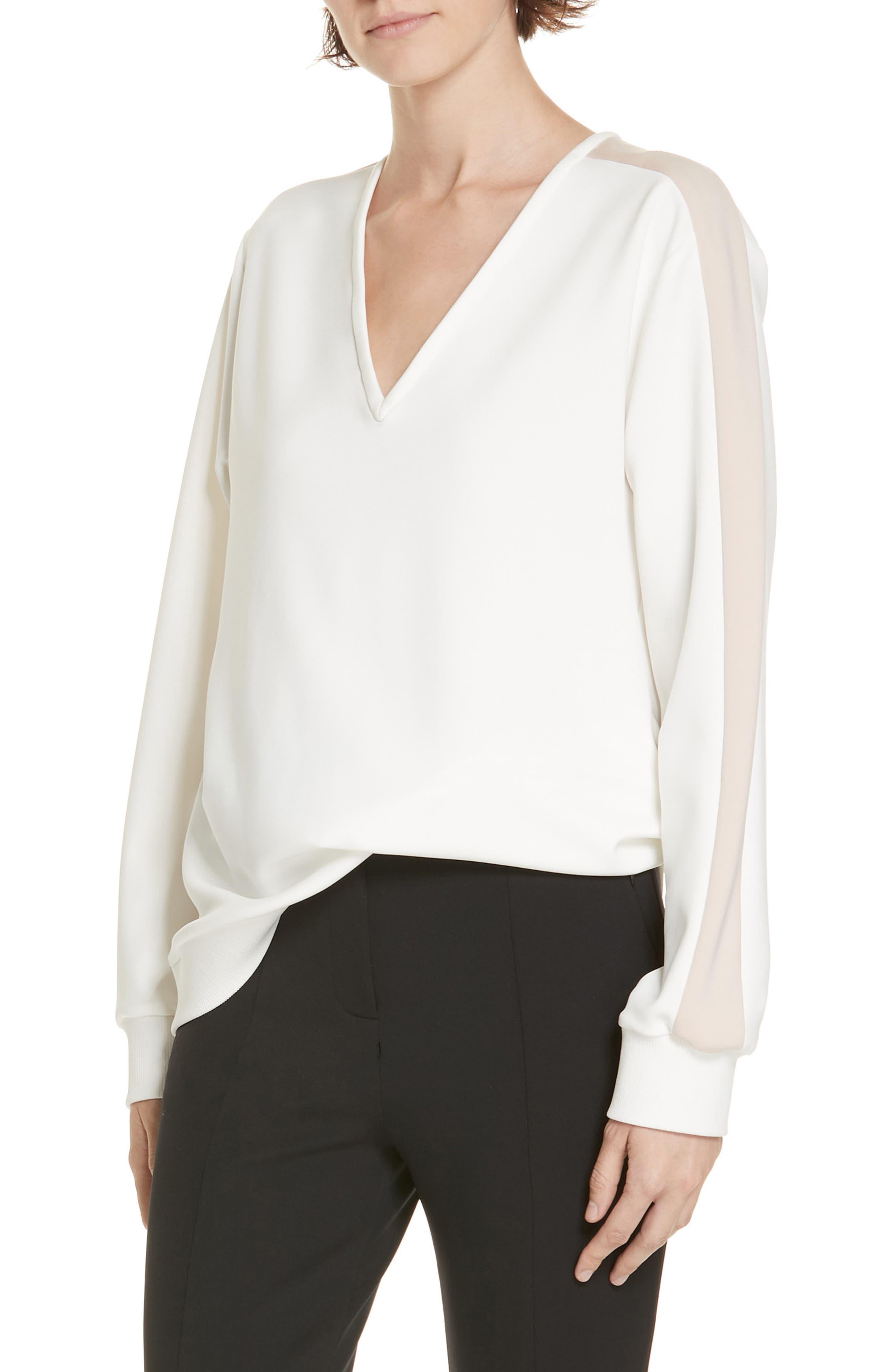 Tibi Tech Knit Stripe Sleeve Sweater, Ivory