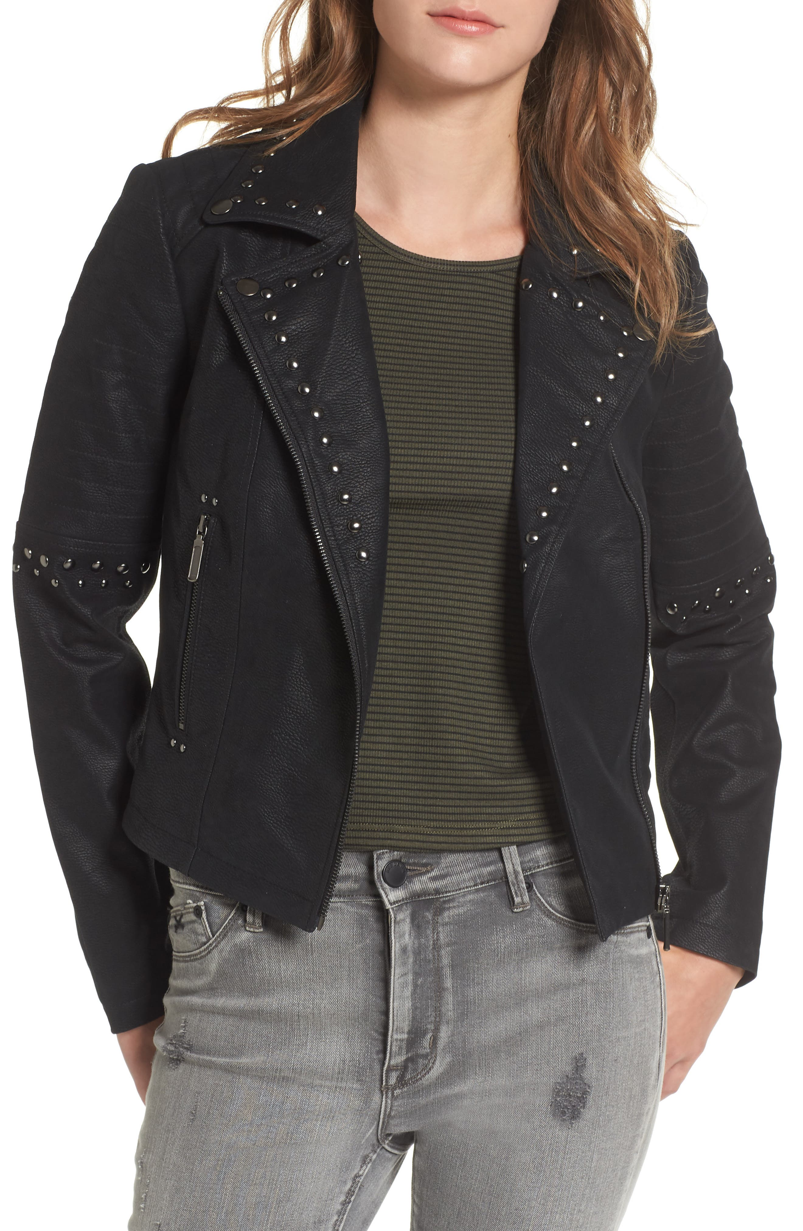 Studded Faux Leather Moto Jacket,                             Main thumbnail 1, color,                             001