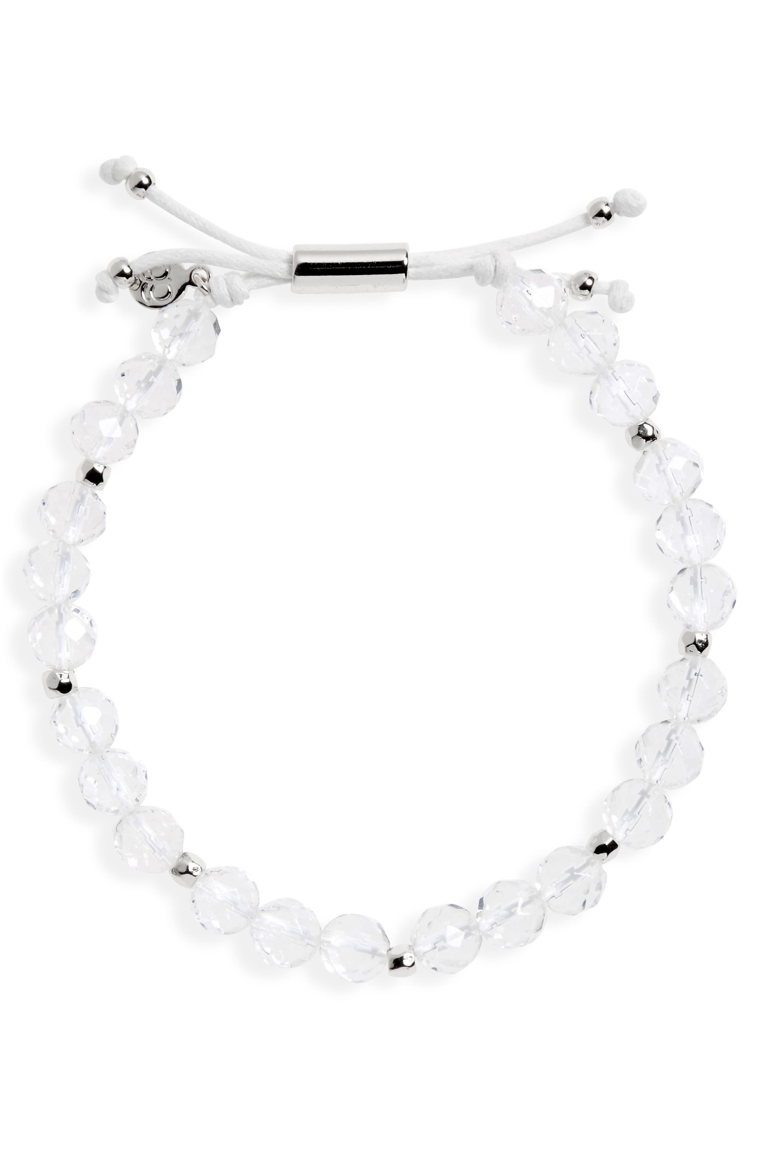 Power Gemstone Beaded Bracelet,                             Main thumbnail 1, color,                             CRYSTAL QUARTZ/ SILVER