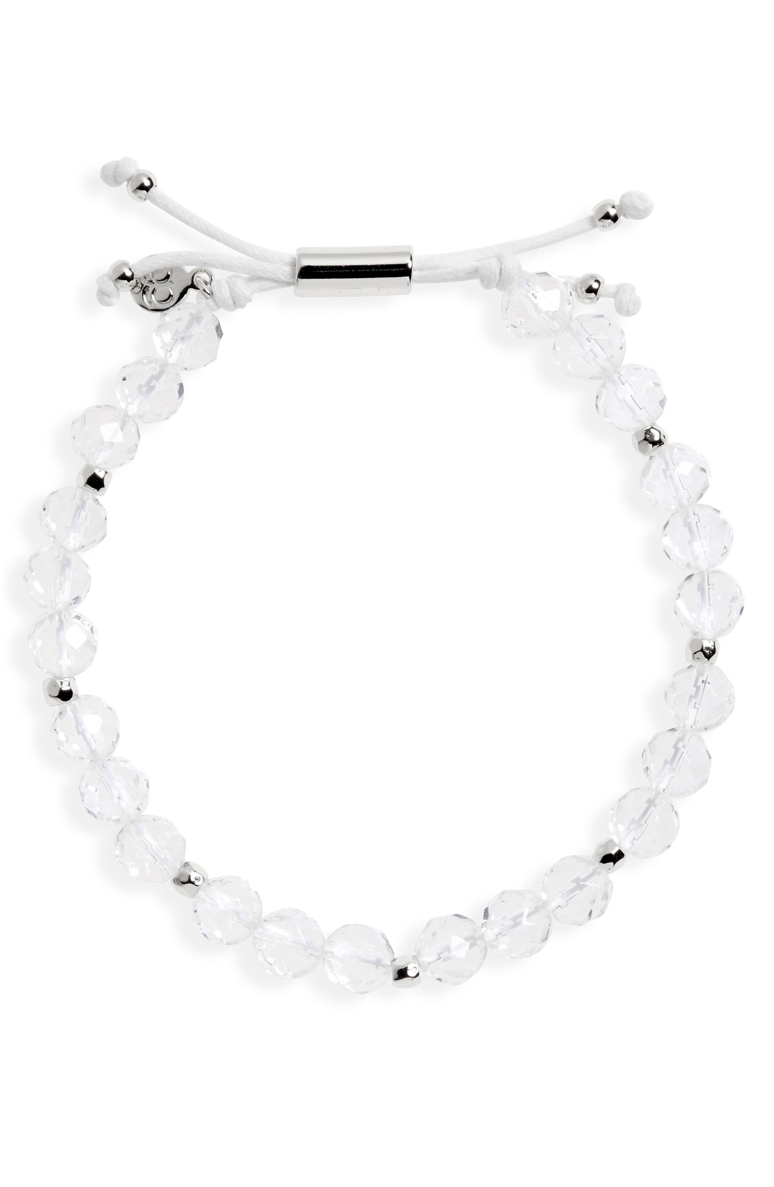 Power Gemstone Beaded Bracelet,                         Main,                         color, CRYSTAL QUARTZ/ SILVER