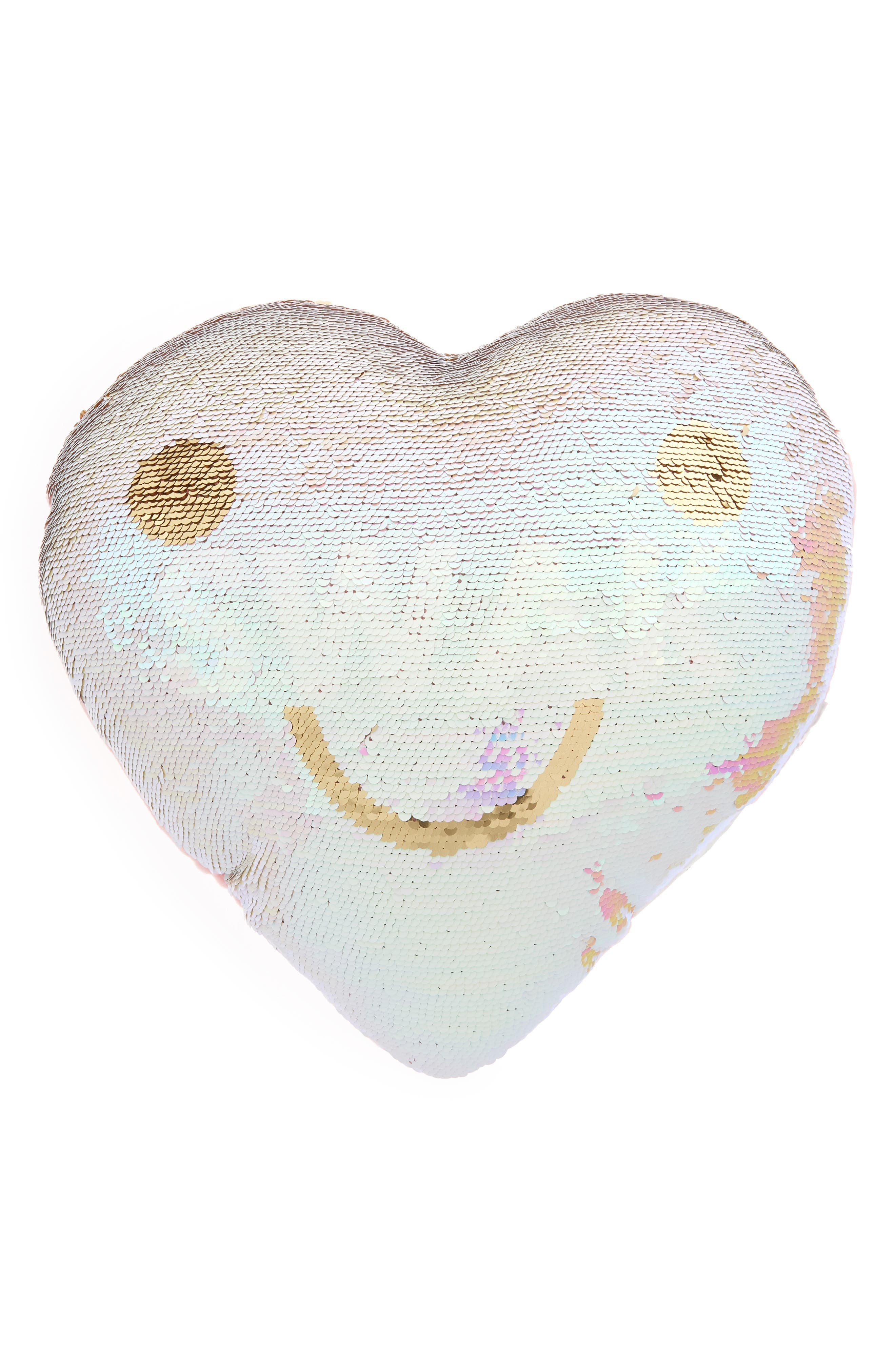 Flip Sequin Love Pillow,                             Main thumbnail 1, color,                             ROSE GOLD