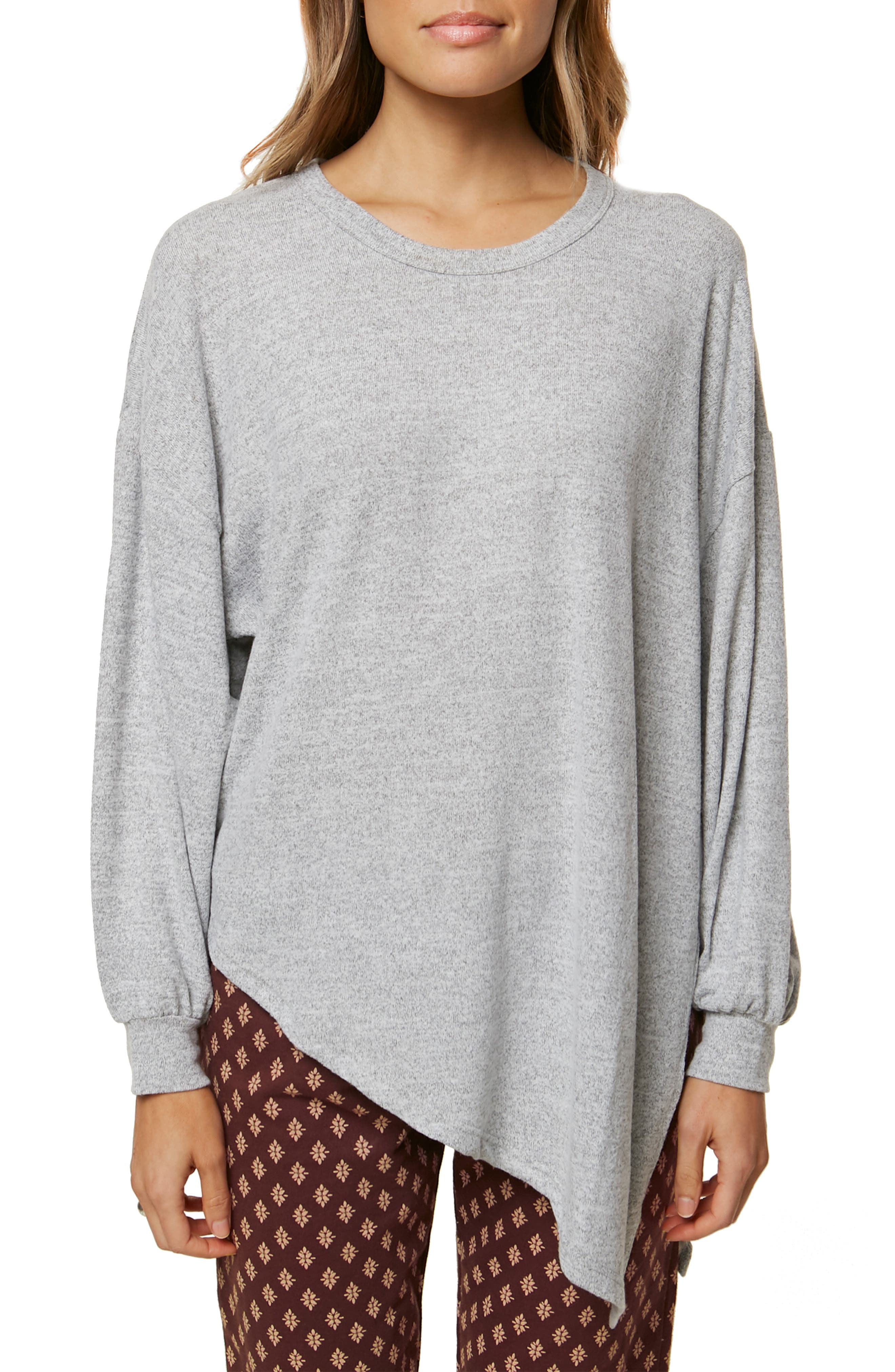 Flores Asymmetrical Knit Pullover,                         Main,                         color, HEATHER GREY