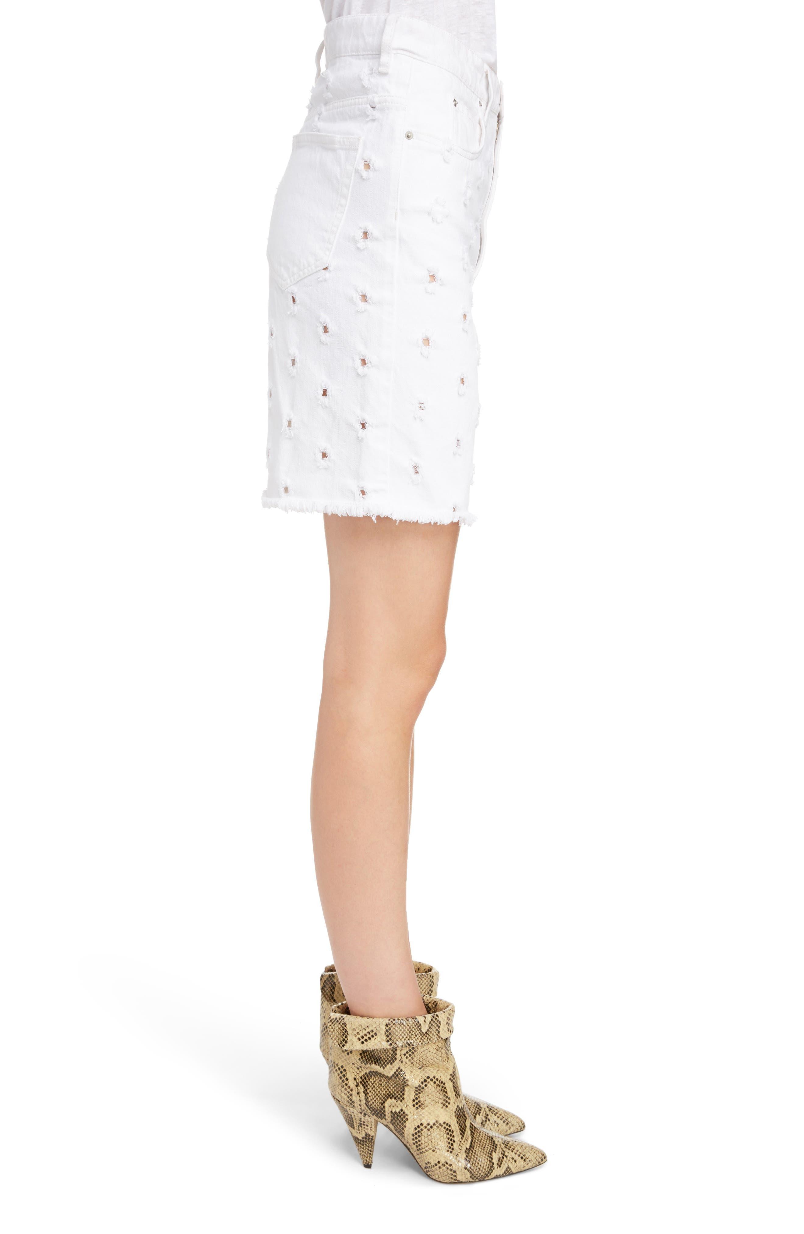 Liny Shredded Dot Denim Shorts,                             Alternate thumbnail 3, color,                             WHITE