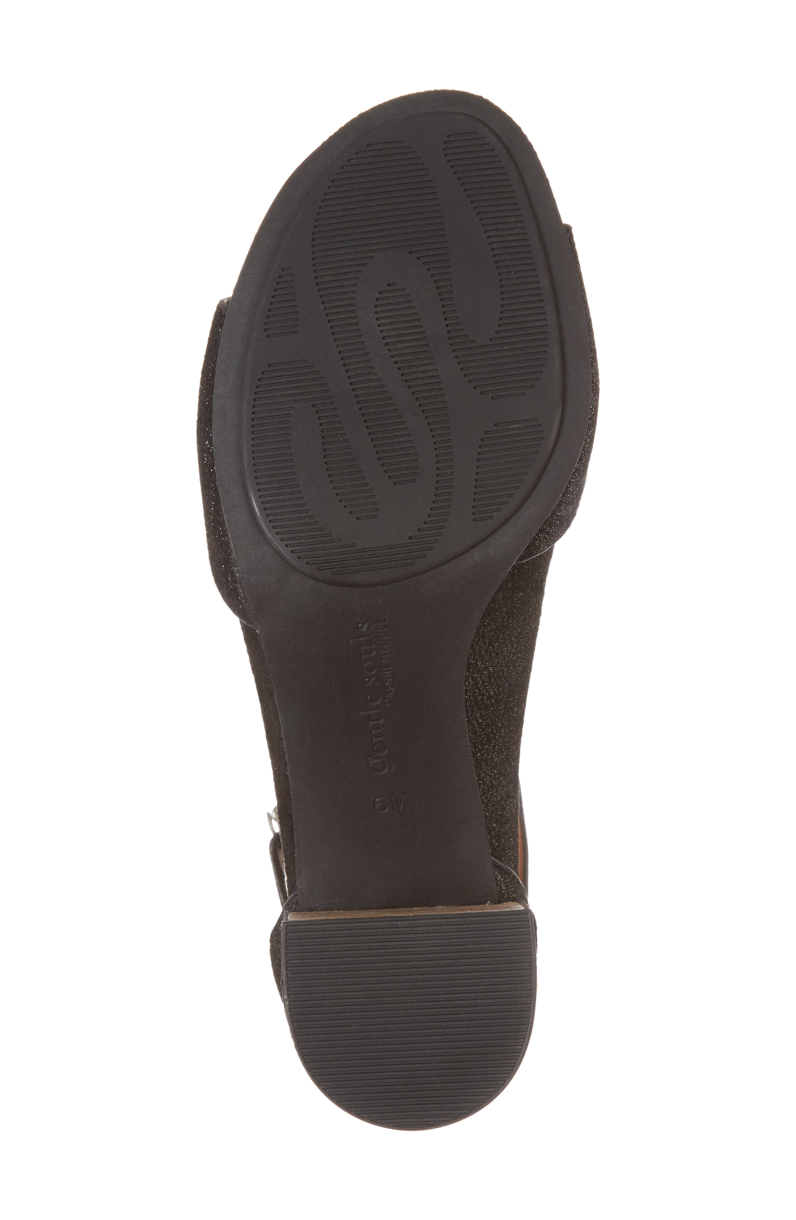 by Kenneth Cole Christa Block Heel Sandal,                             Alternate thumbnail 6, color,                             BLACK EMBOSSED LEATHER