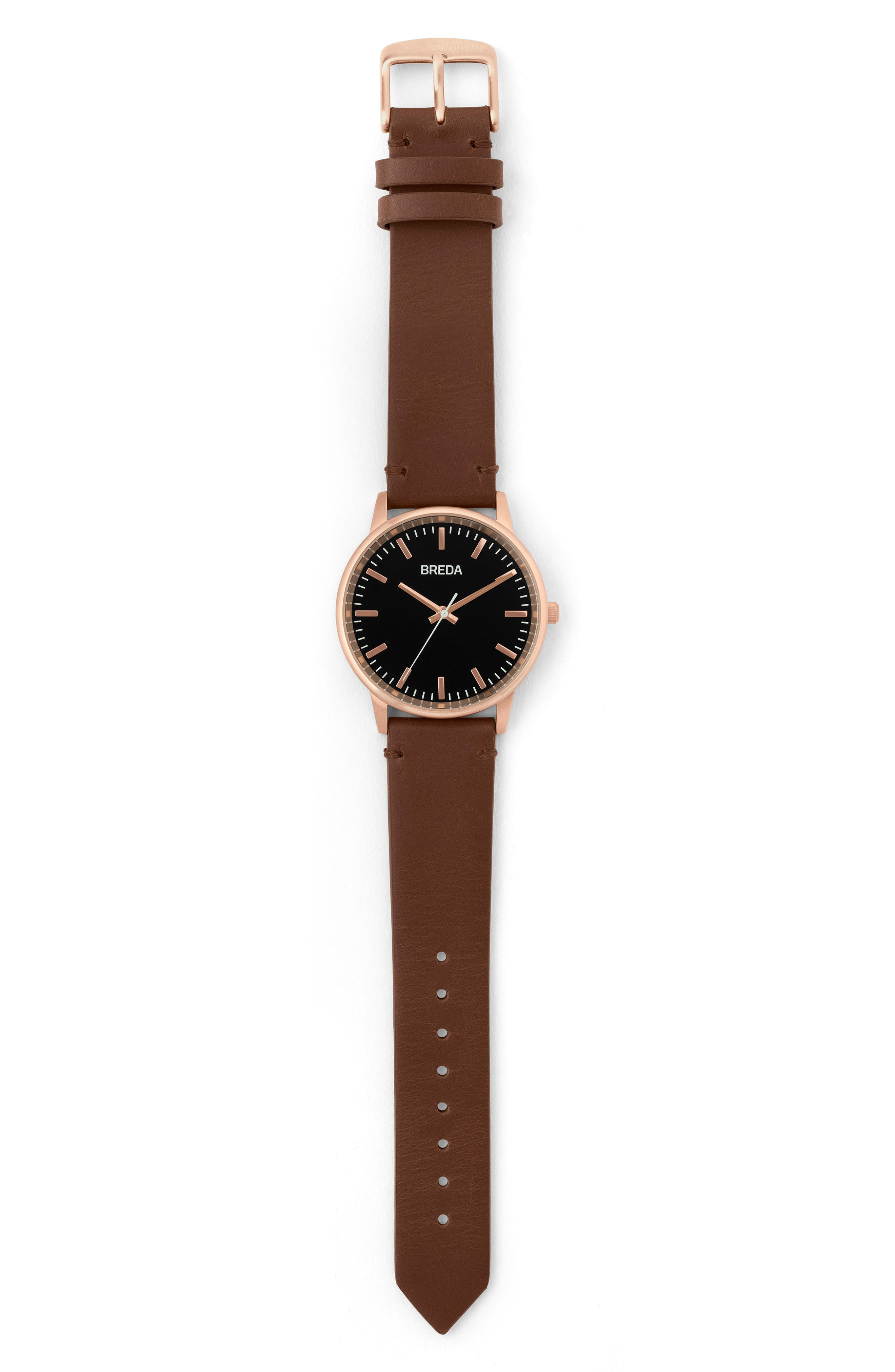 Zapf Leather Strap Watch, 39mm,                             Alternate thumbnail 2, color,                             BROWN/ BLACK/ ROSE GOLD