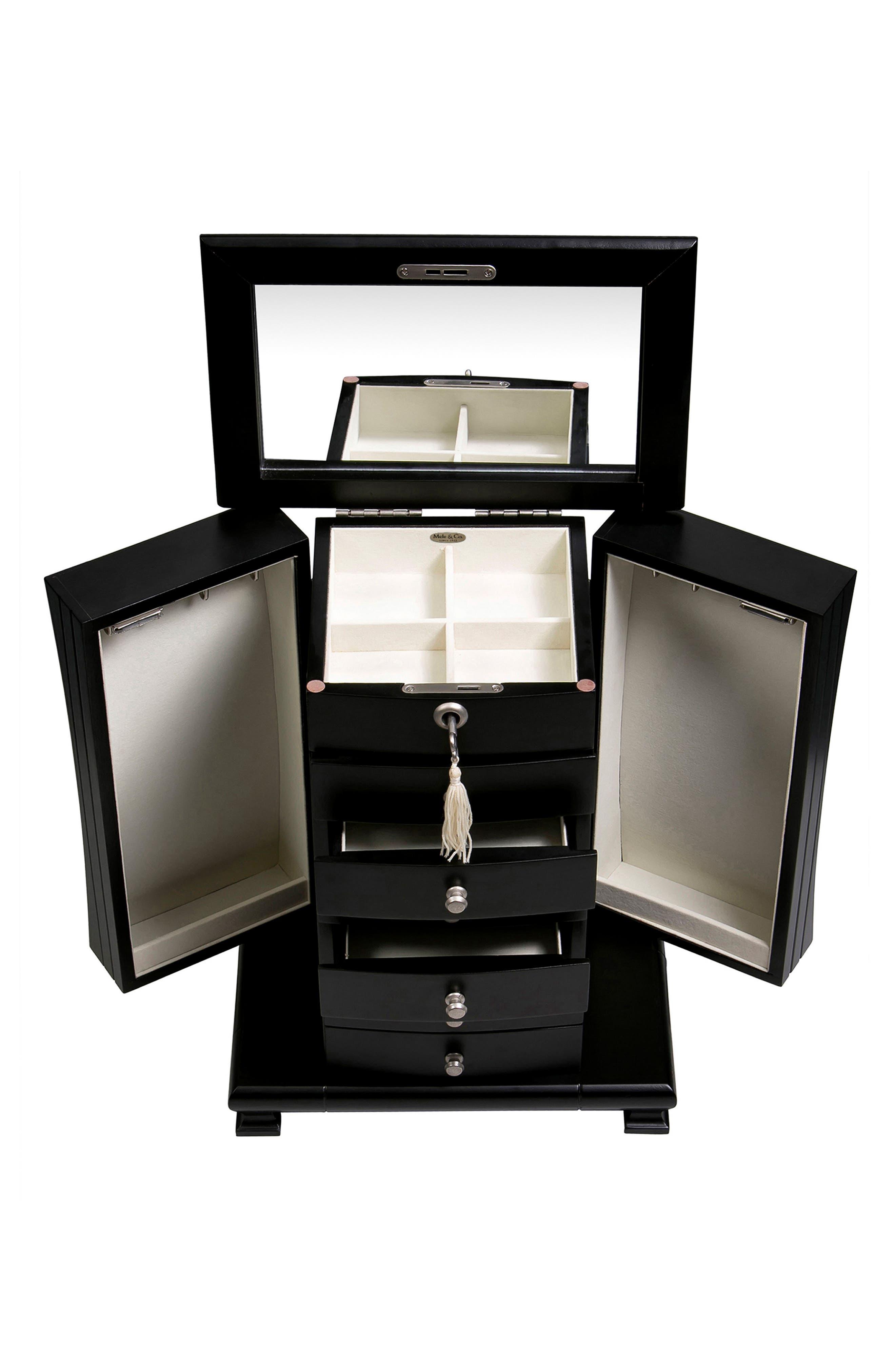 Layla Locking Jewelry Box,                             Alternate thumbnail 4, color,                             BLACK