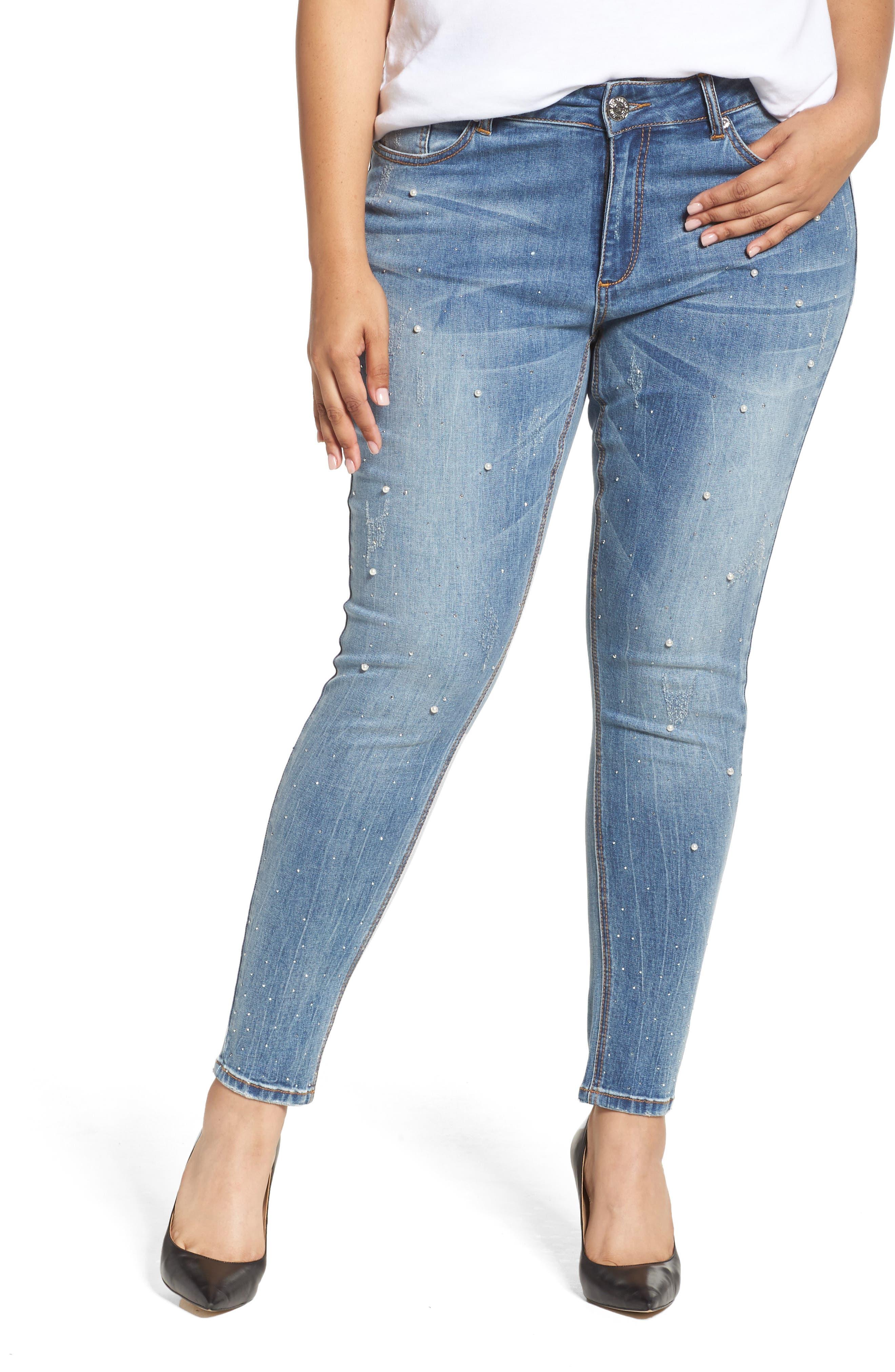 Embellished Skinny Jeans,                             Main thumbnail 1, color,                             STARLET