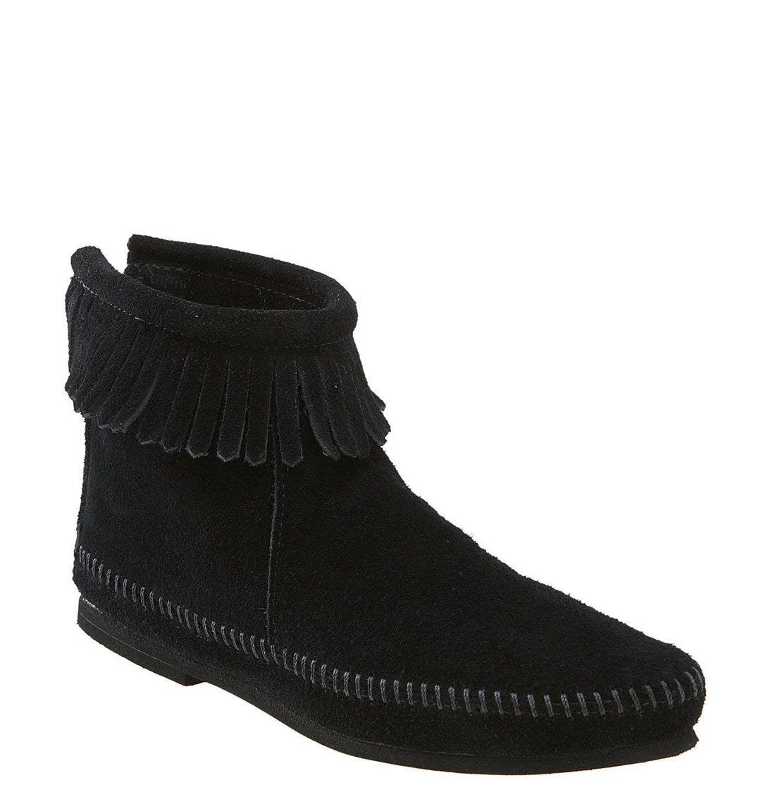 Fringed Short Boot,                         Main,                         color, 001
