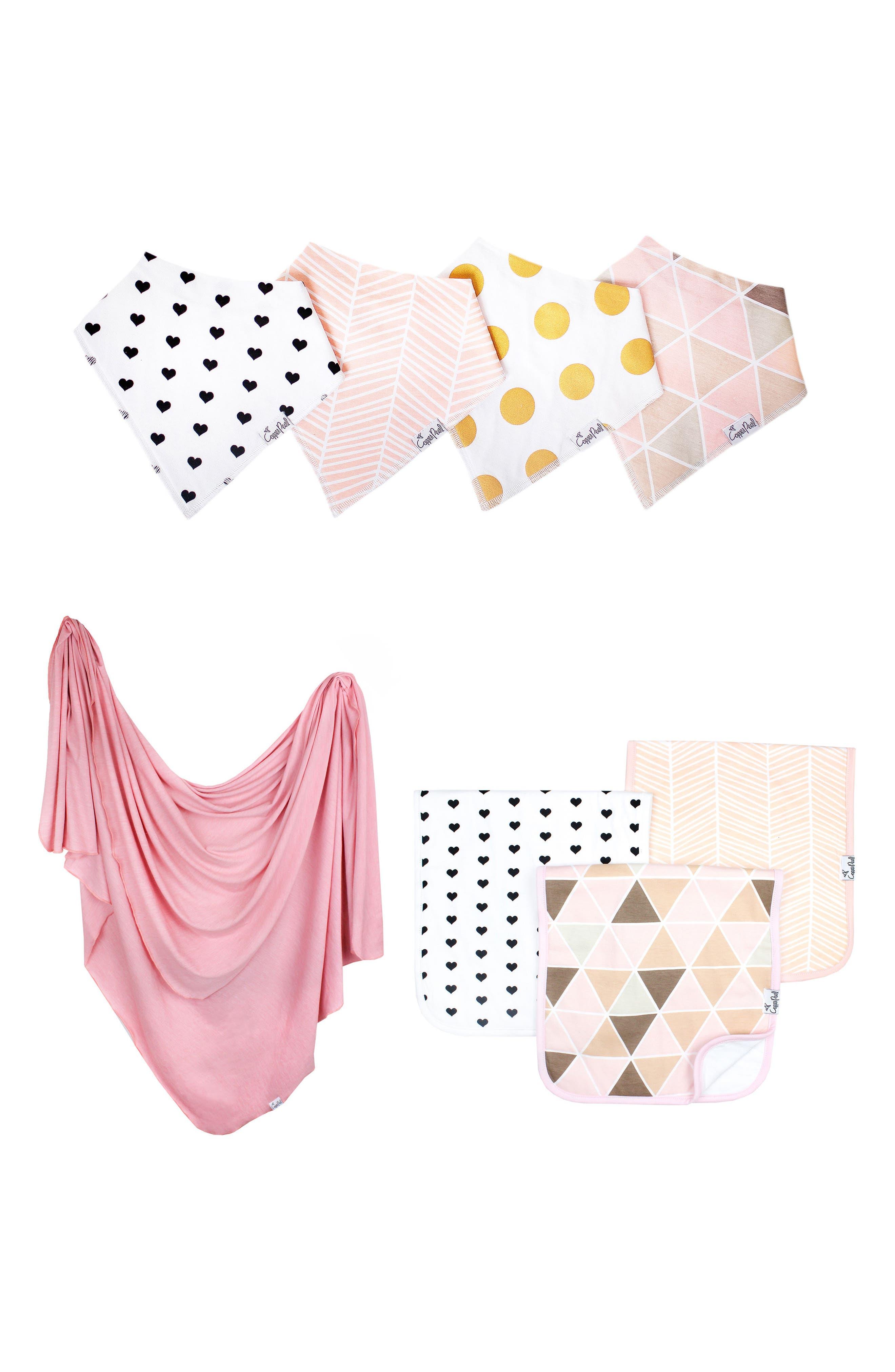 Blush Bib, Burp Cloth & Swaddle Blanket Gift Set,                             Main thumbnail 1, color,                             BLUSH