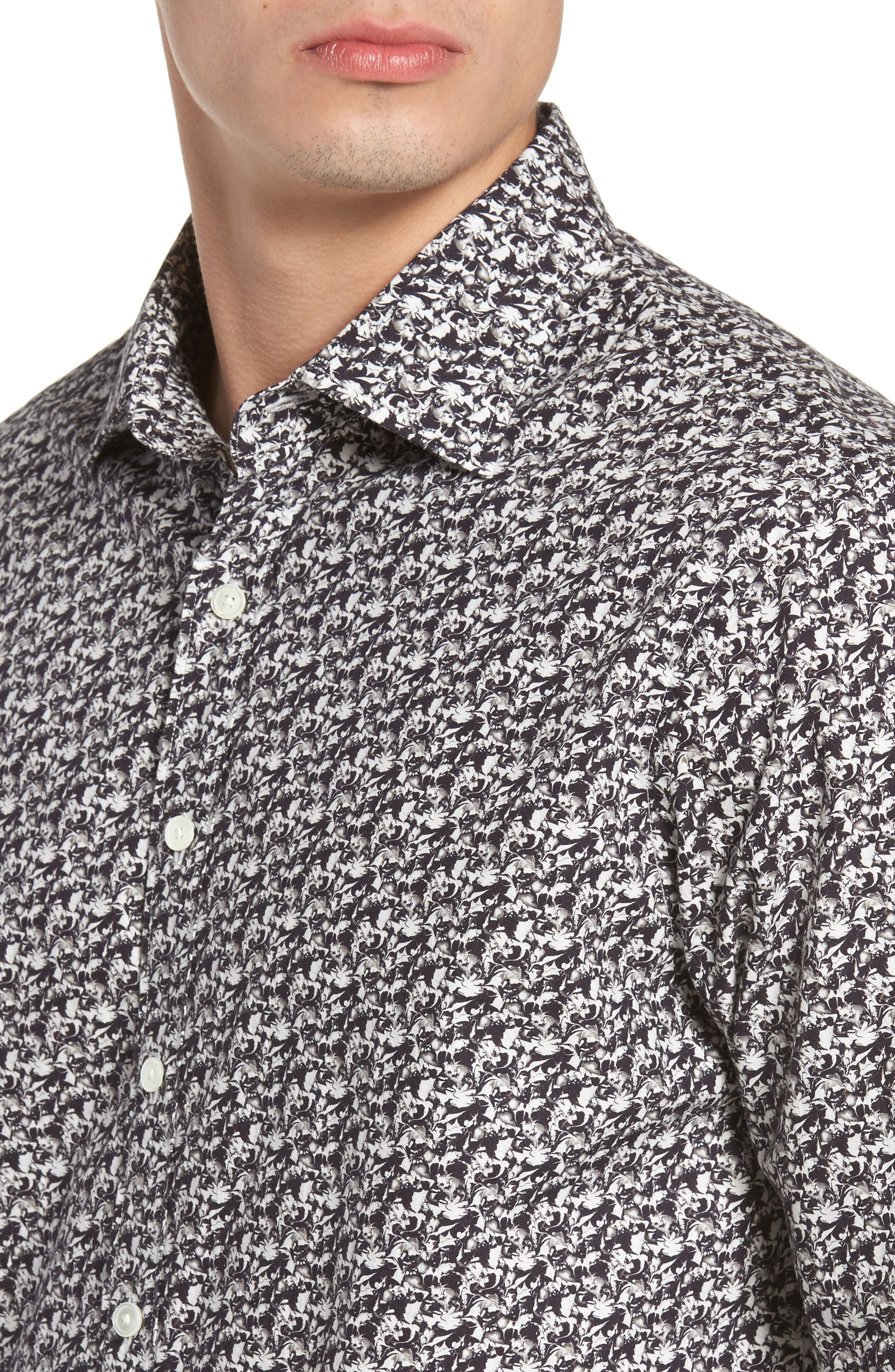 Bucklands Beach Print Sport Shirt,                             Alternate thumbnail 4, color,