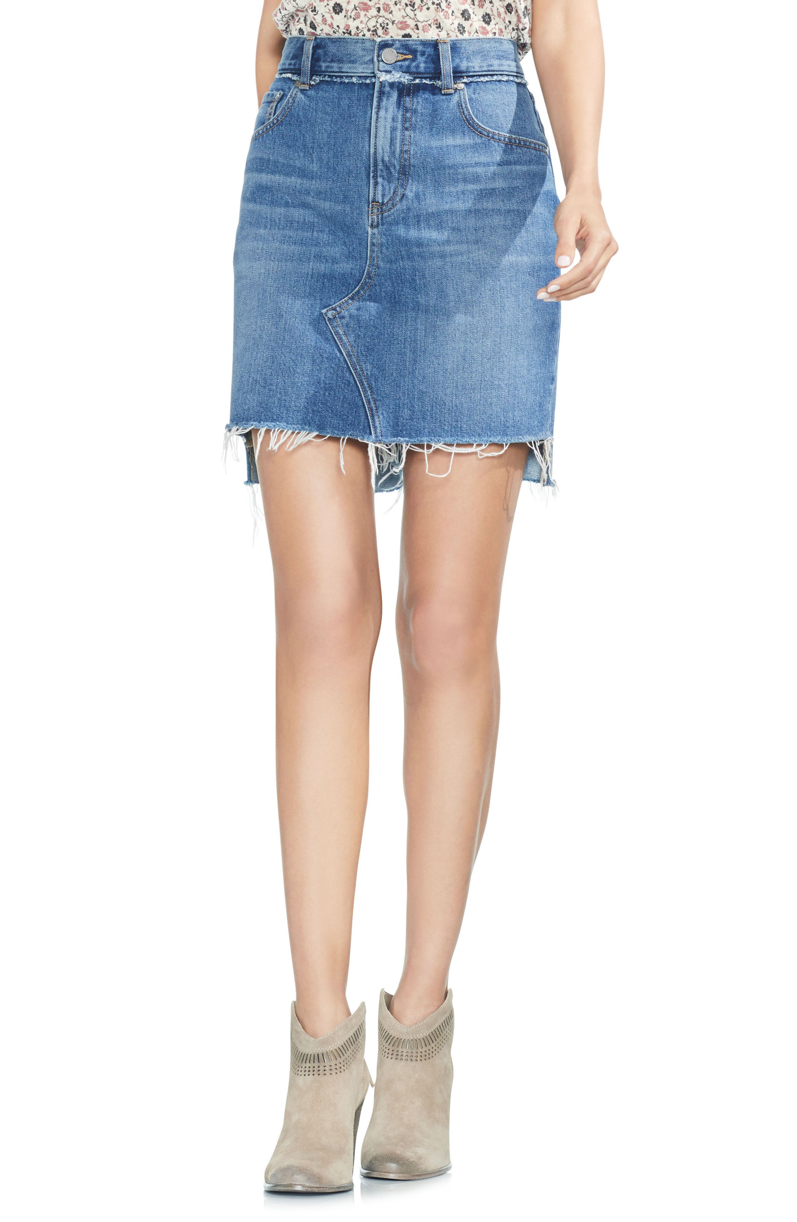 Classic Fray Hem Denim Skirt,                             Main thumbnail 1, color,                             482