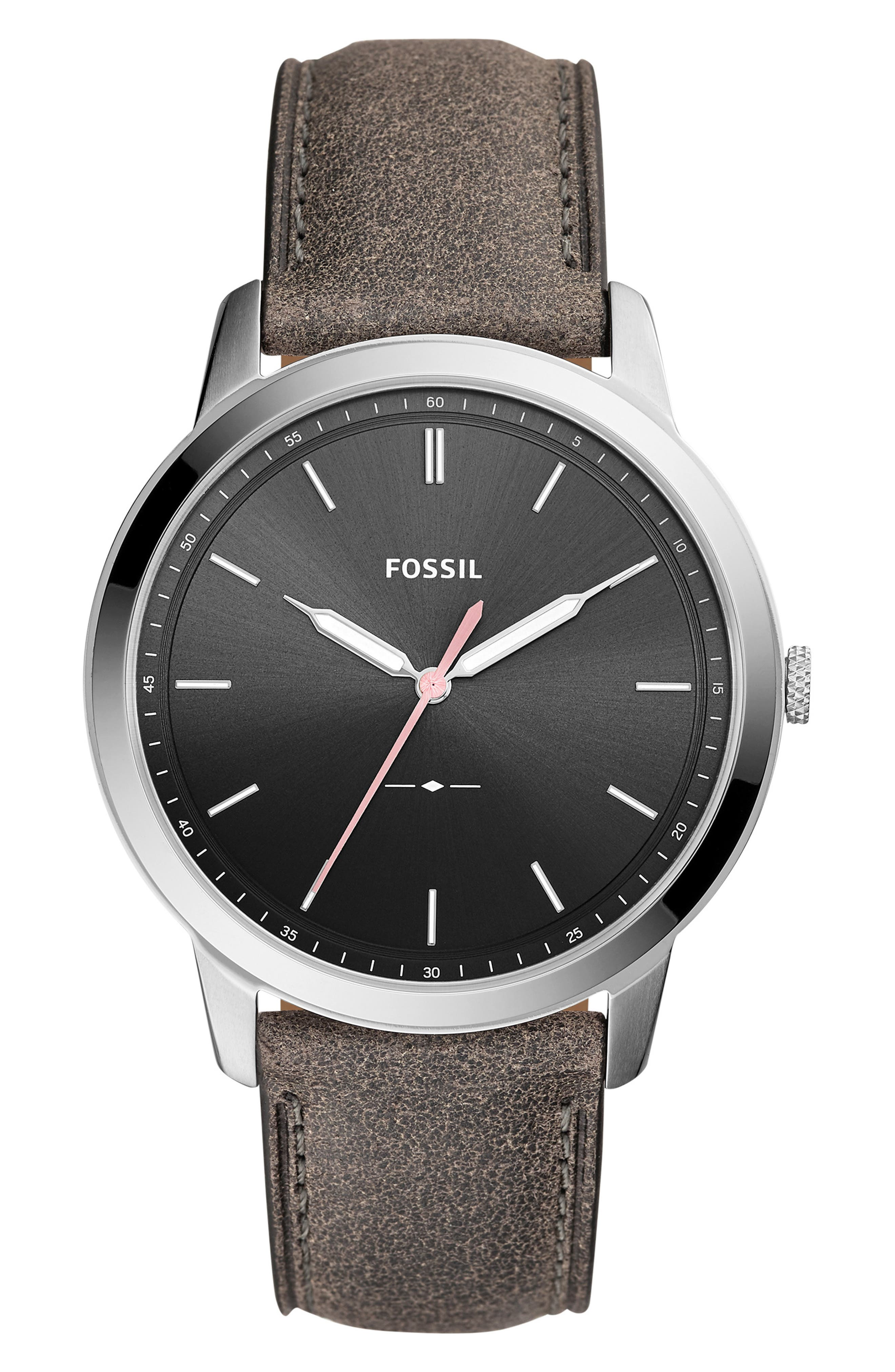 Minimalist Leather Strap Watch, 44mm,                             Main thumbnail 2, color,