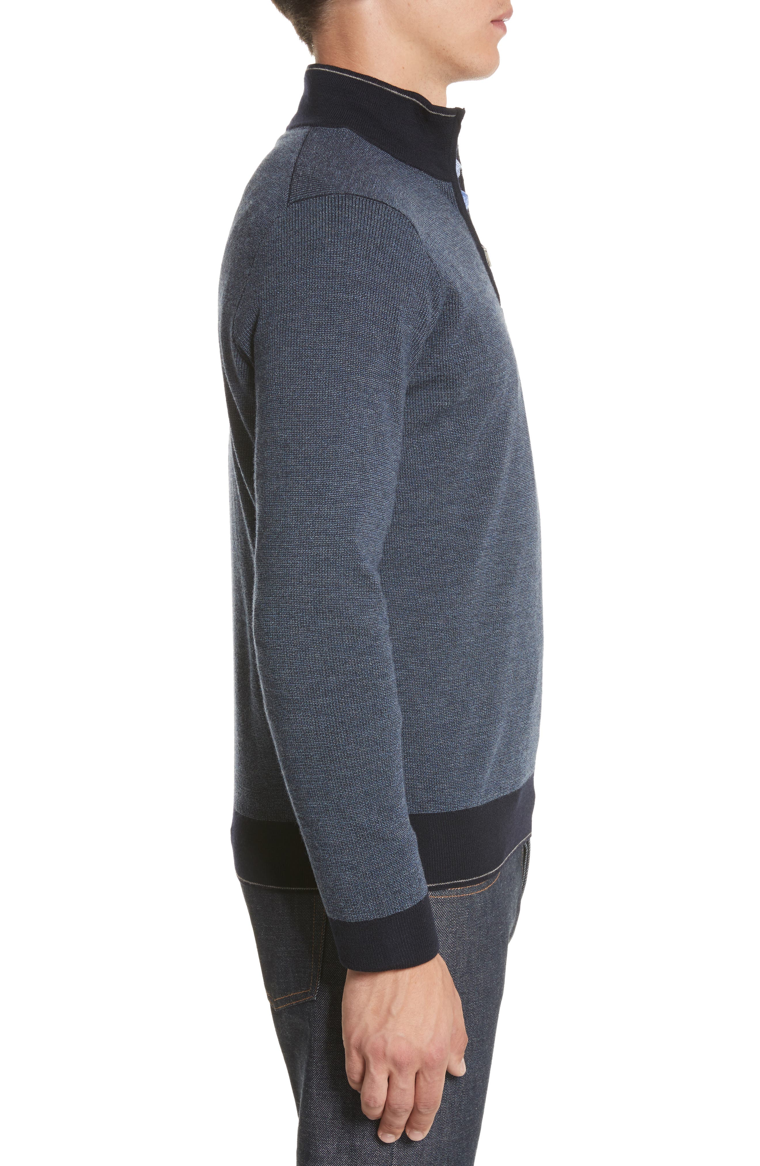 Quarter Zip Wool Sweater,                             Alternate thumbnail 3, color,                             401