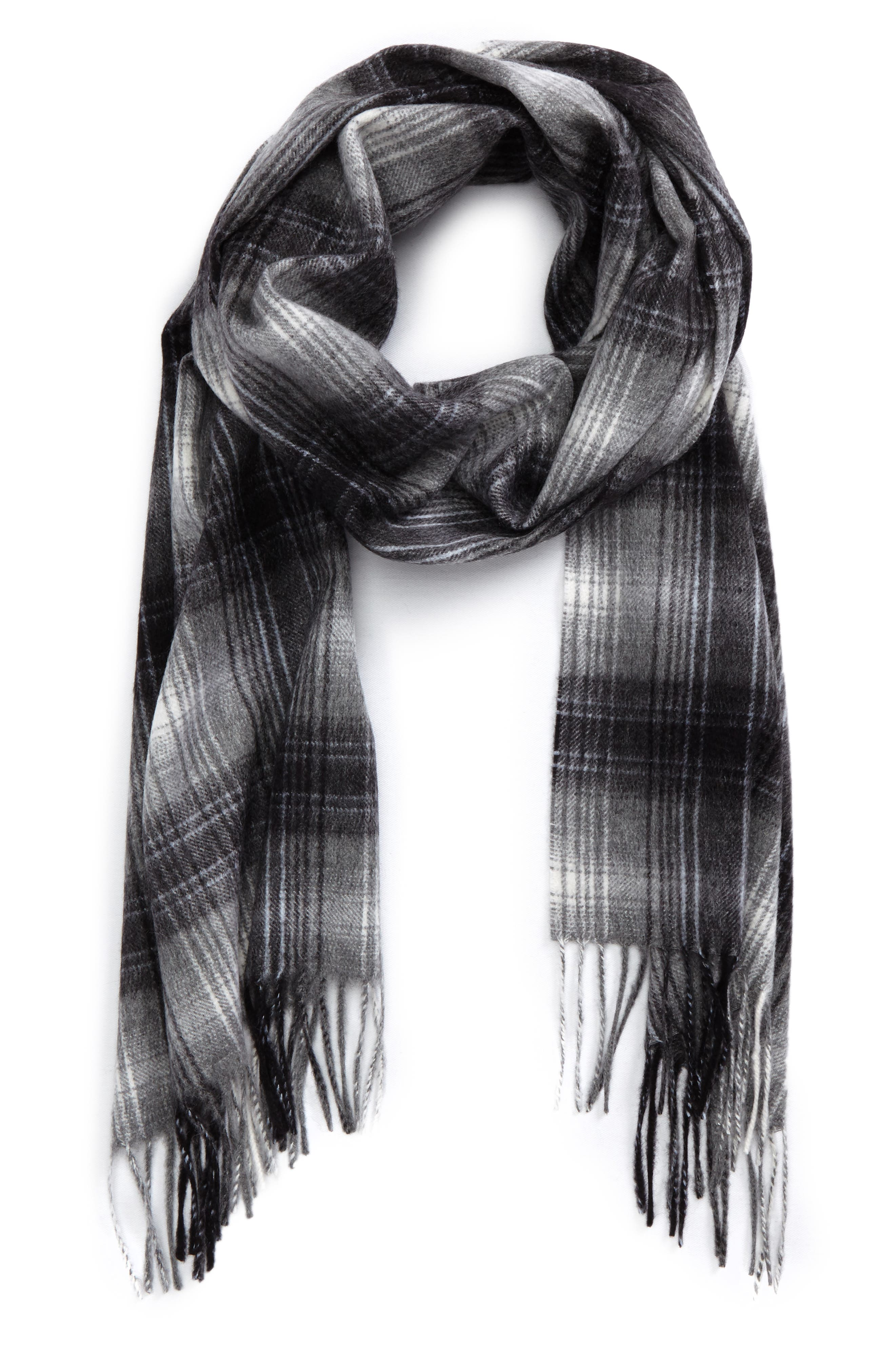 Ombré Plaid Cashmere Scarf,                             Main thumbnail 1, color,