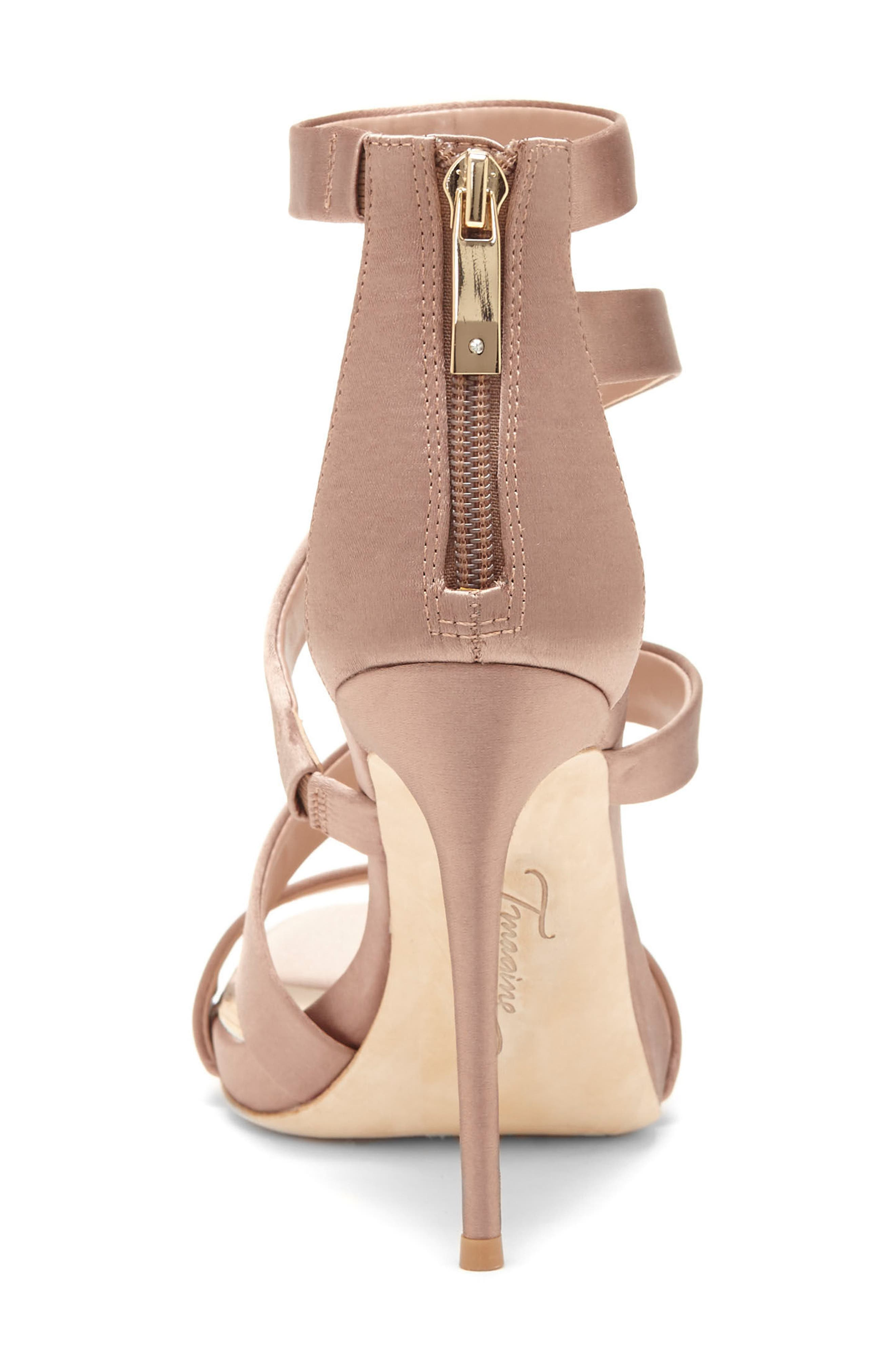 Imagine Vince Camuto Dalles Tall Strappy Sandal,                             Alternate thumbnail 8, color,                             WARM TAUPE SATIN