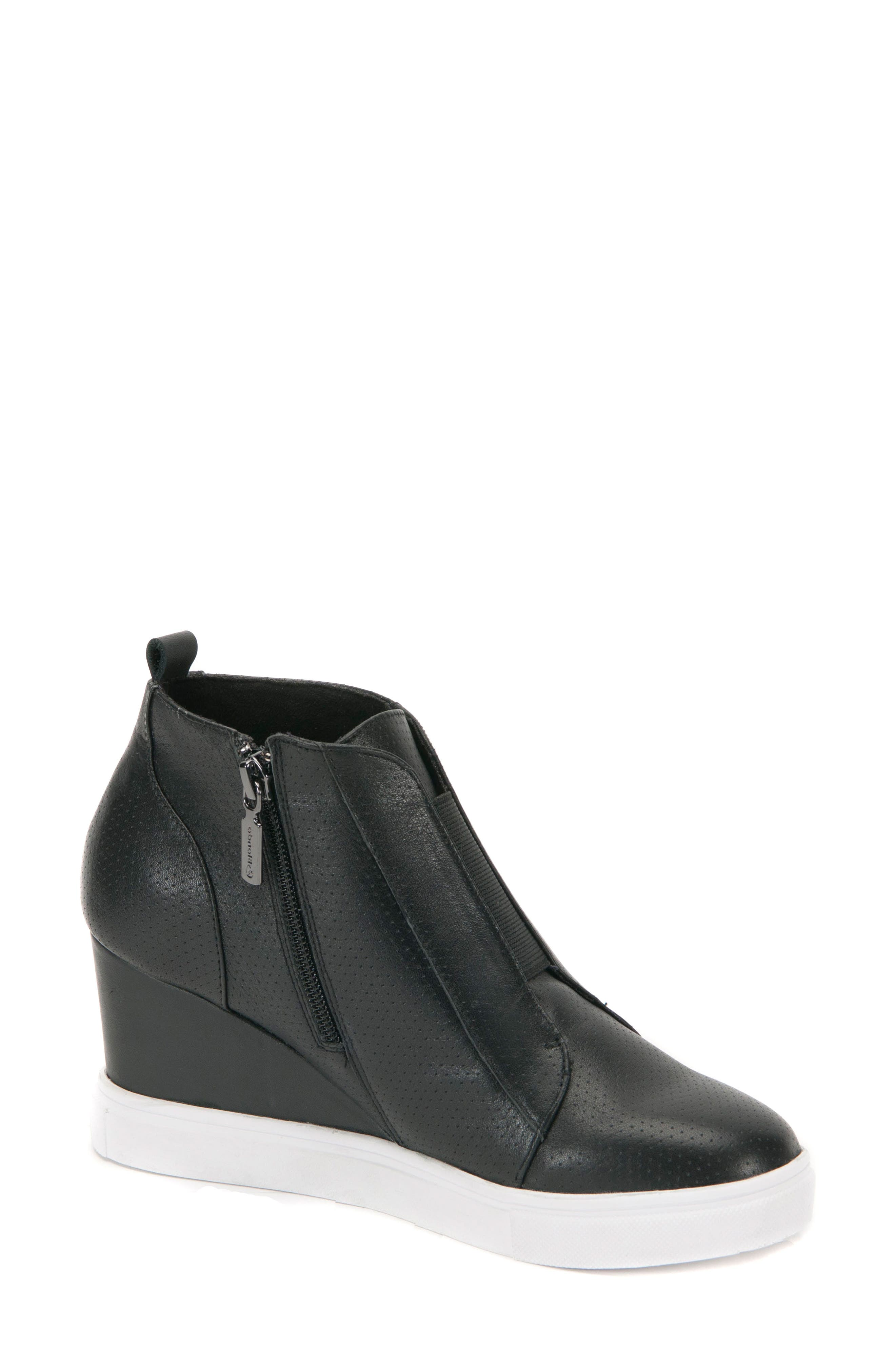 Gatsby Waterproof Wedge Bootie,                             Main thumbnail 1, color,                             BLACK LEATHER